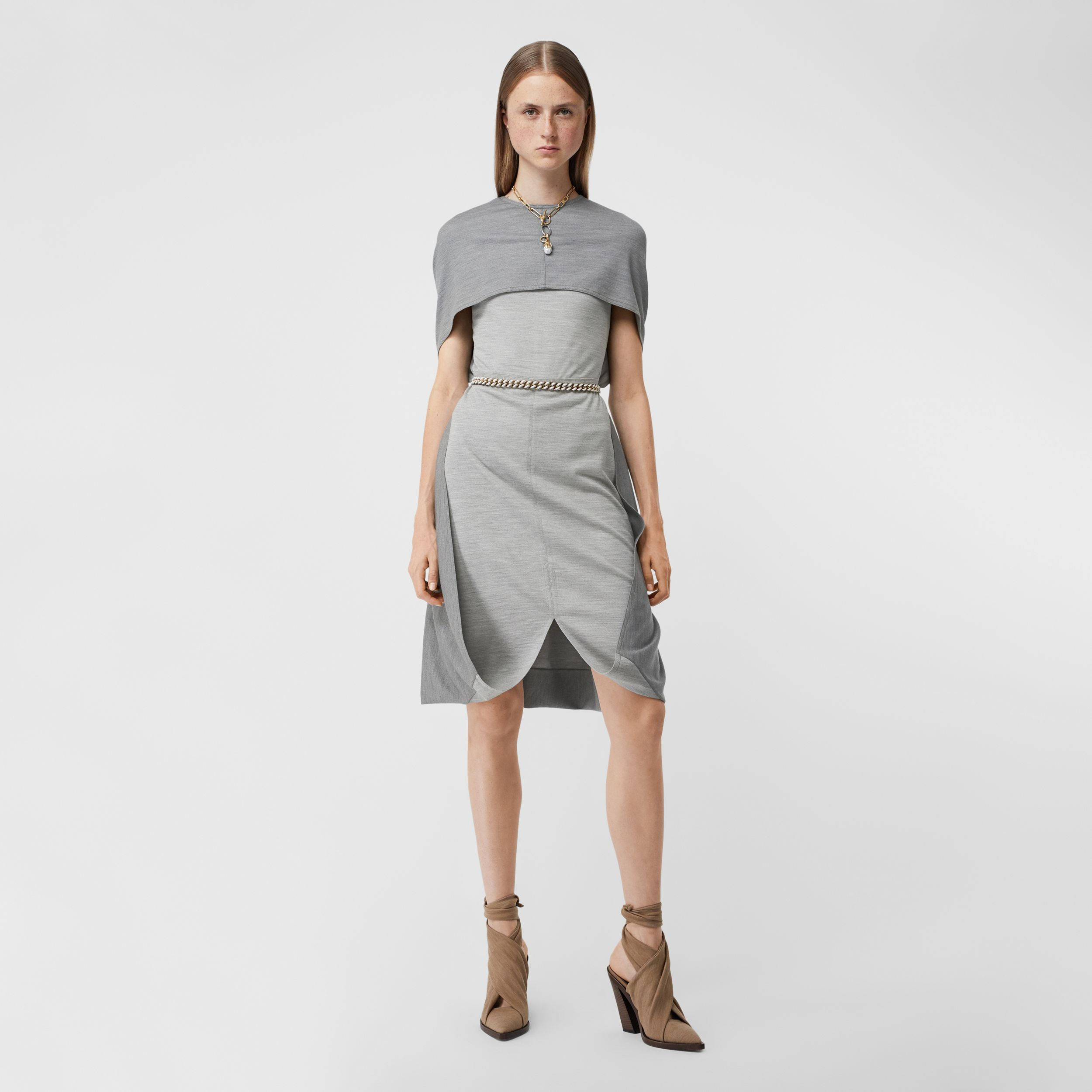 Cape Detail Technical Wool Jersey Shift Dress in Cloud Grey - Women | Burberry - 1