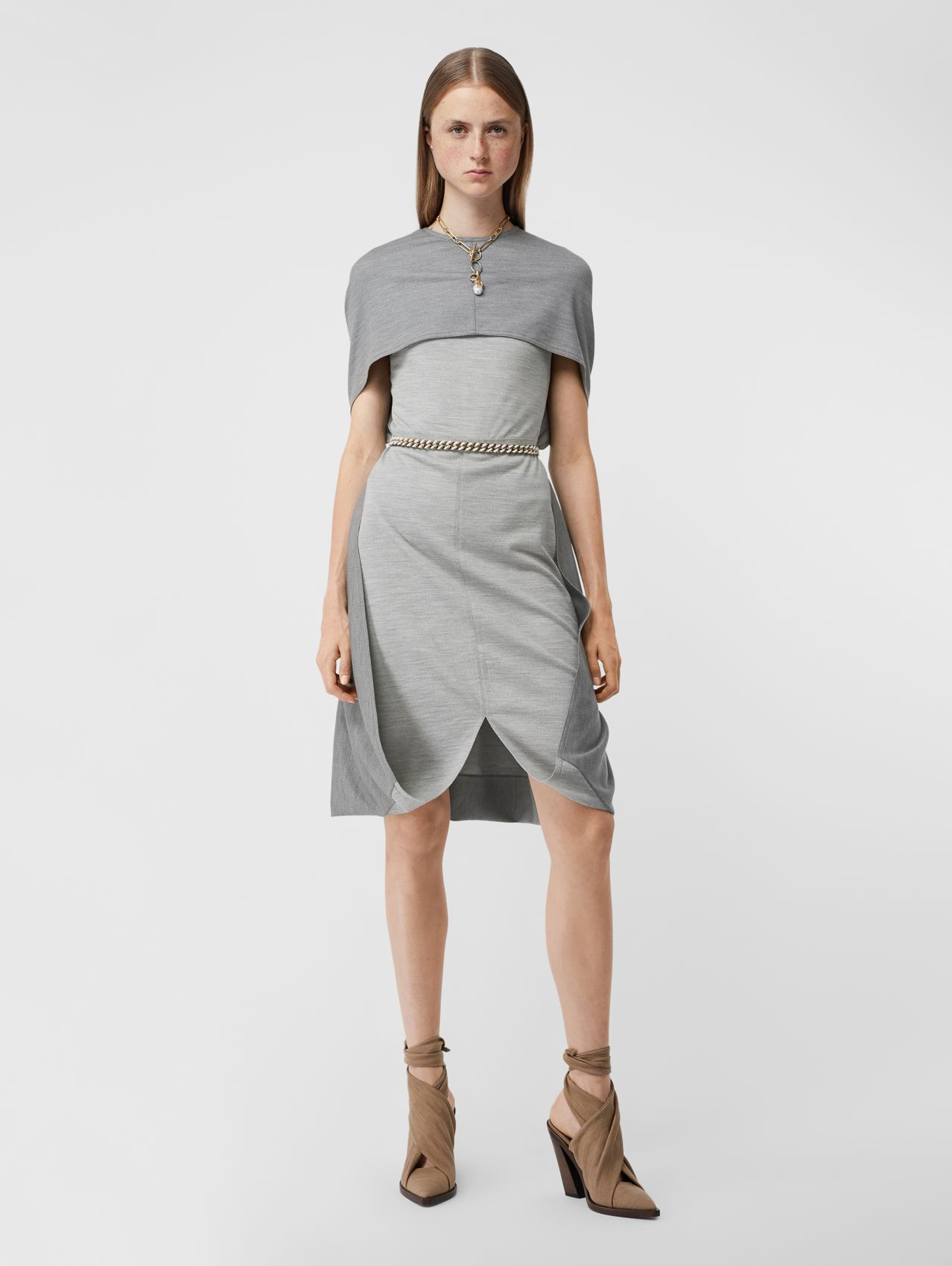 Cape Detail Technical Wool Jersey Shift Dress in Cloud Grey