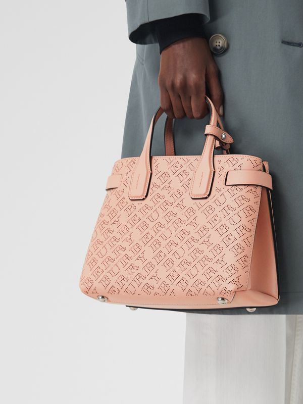 The Small Banner in Perforated Logo Leather in Pale Fawn Pink - Women | Burberry - cell image 3