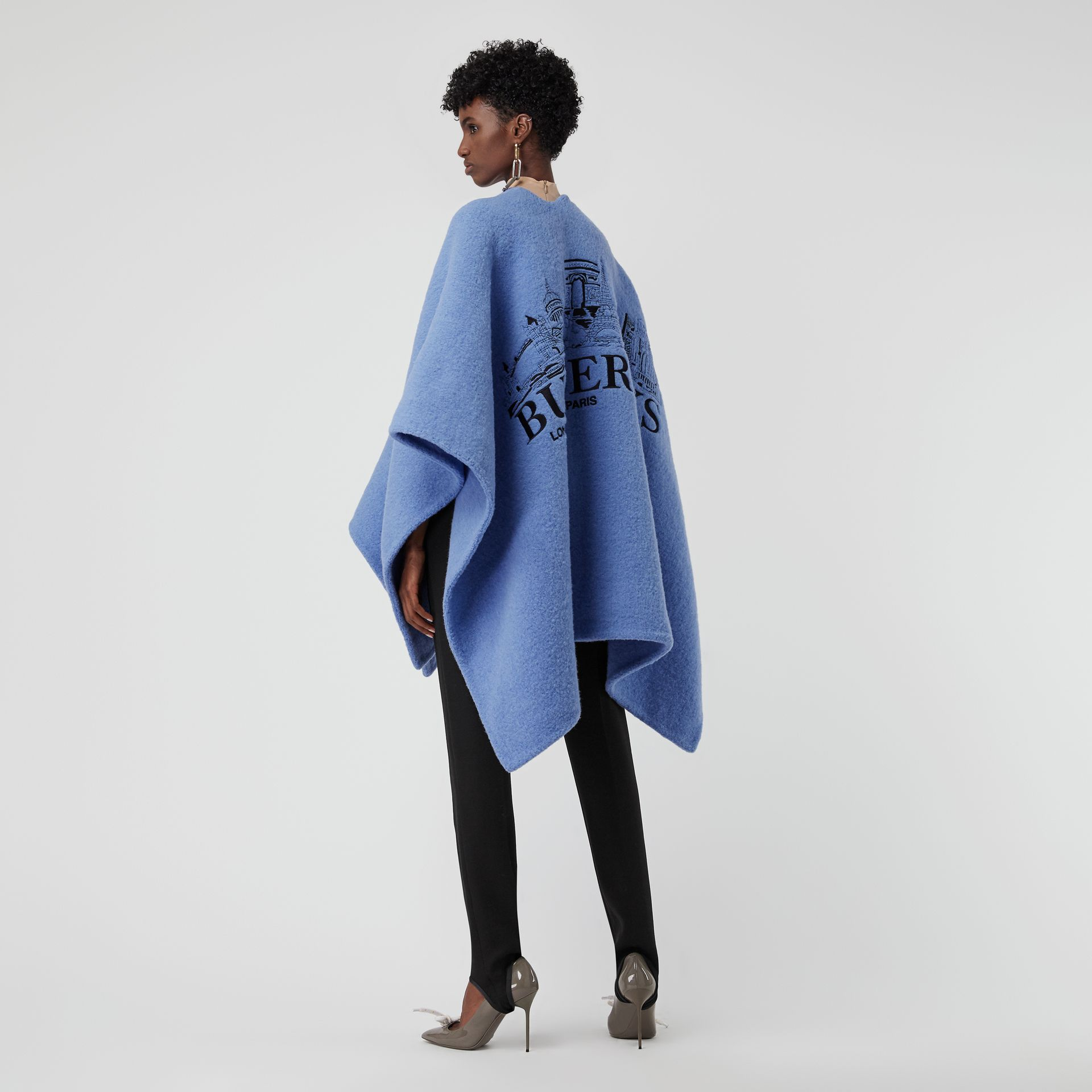 Embroidered Skyline Wool Alpaca Blend Poncho in Hydrangea Blue - Women | Burberry Australia - gallery image 0