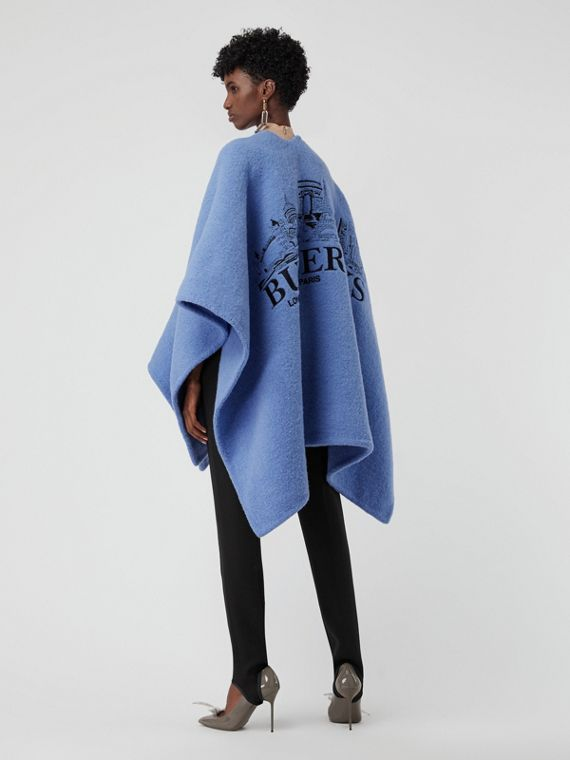 Embroidered Skyline Wool Alpaca Blend Poncho in Hydrangea Blue