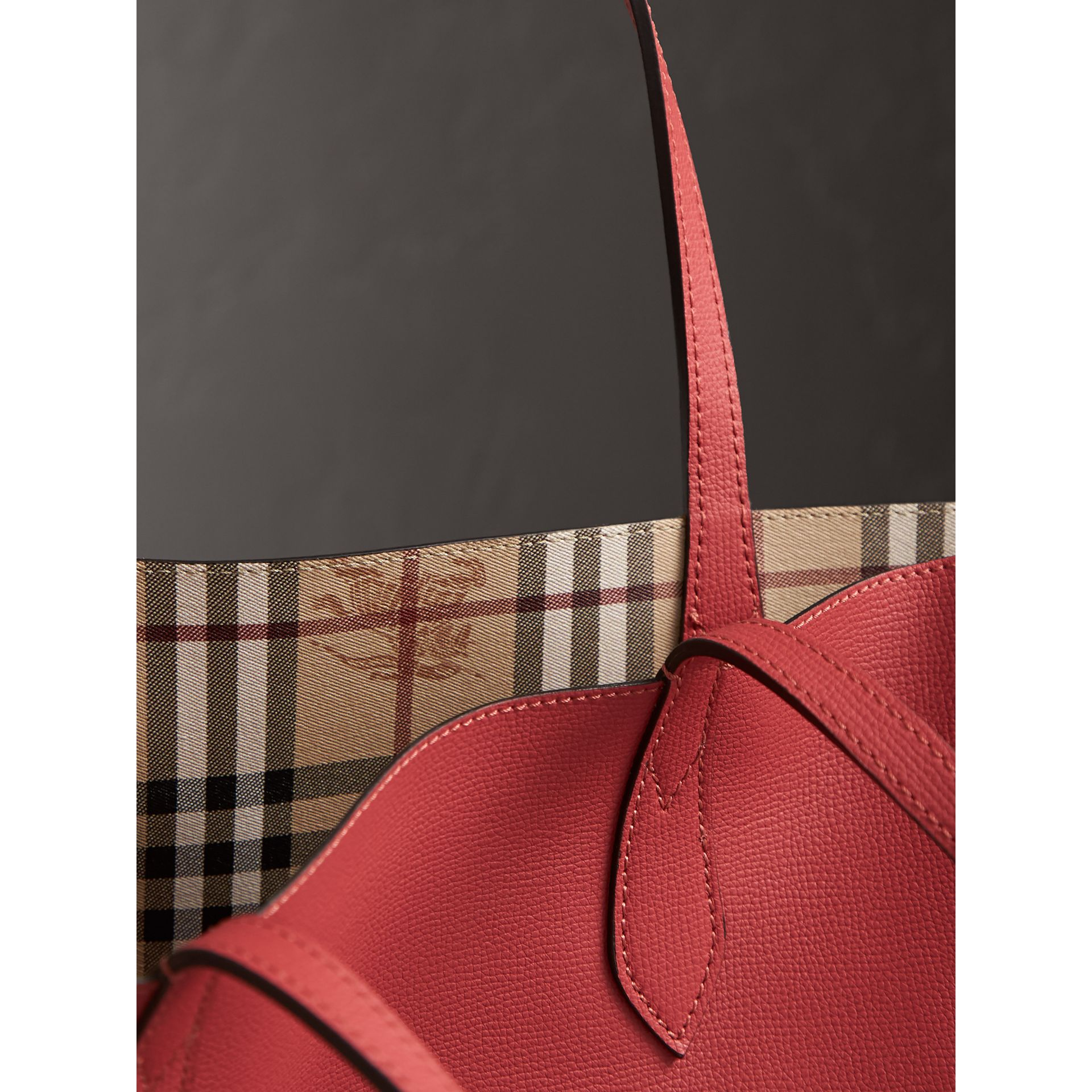 The Small Reversible Tote in Haymarket Check and Leather in Coral Red - Women | Burberry - gallery image 2