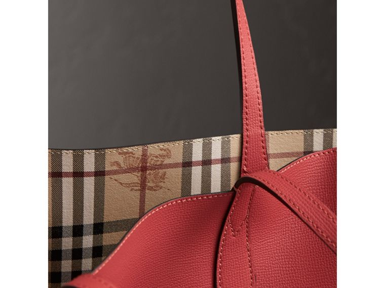 The Small Reversible Tote in Haymarket Check and Leather in Coral Red - Women | Burberry - cell image 1