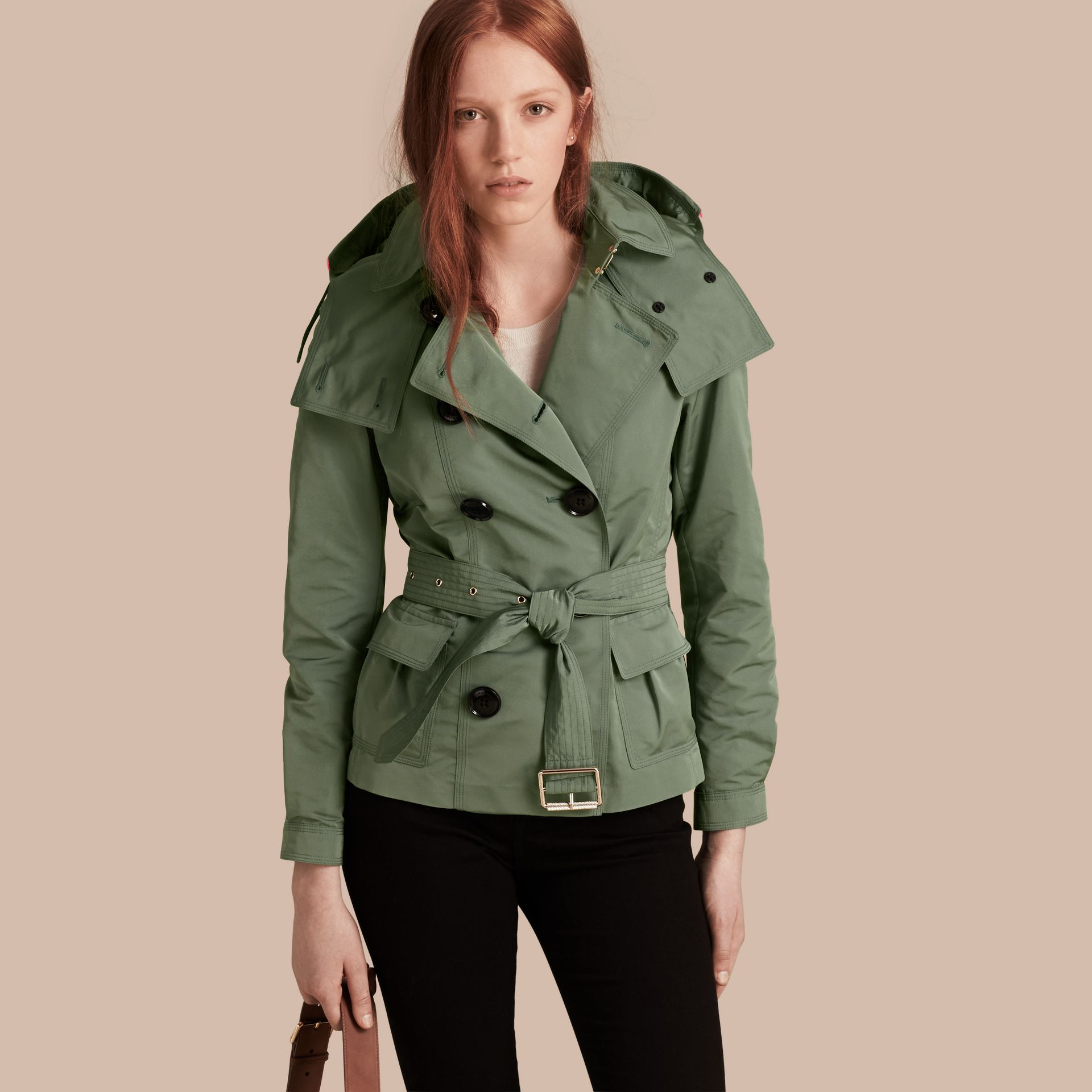 Eucalyptus green Showerproof Taffeta Trench Jacket with Detachable Hood Eucalyptus Green - gallery image 1