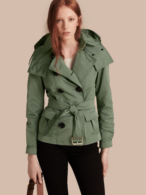 Showerproof Taffeta Trench Jacket with Detachable Hood Eucalyptus Green