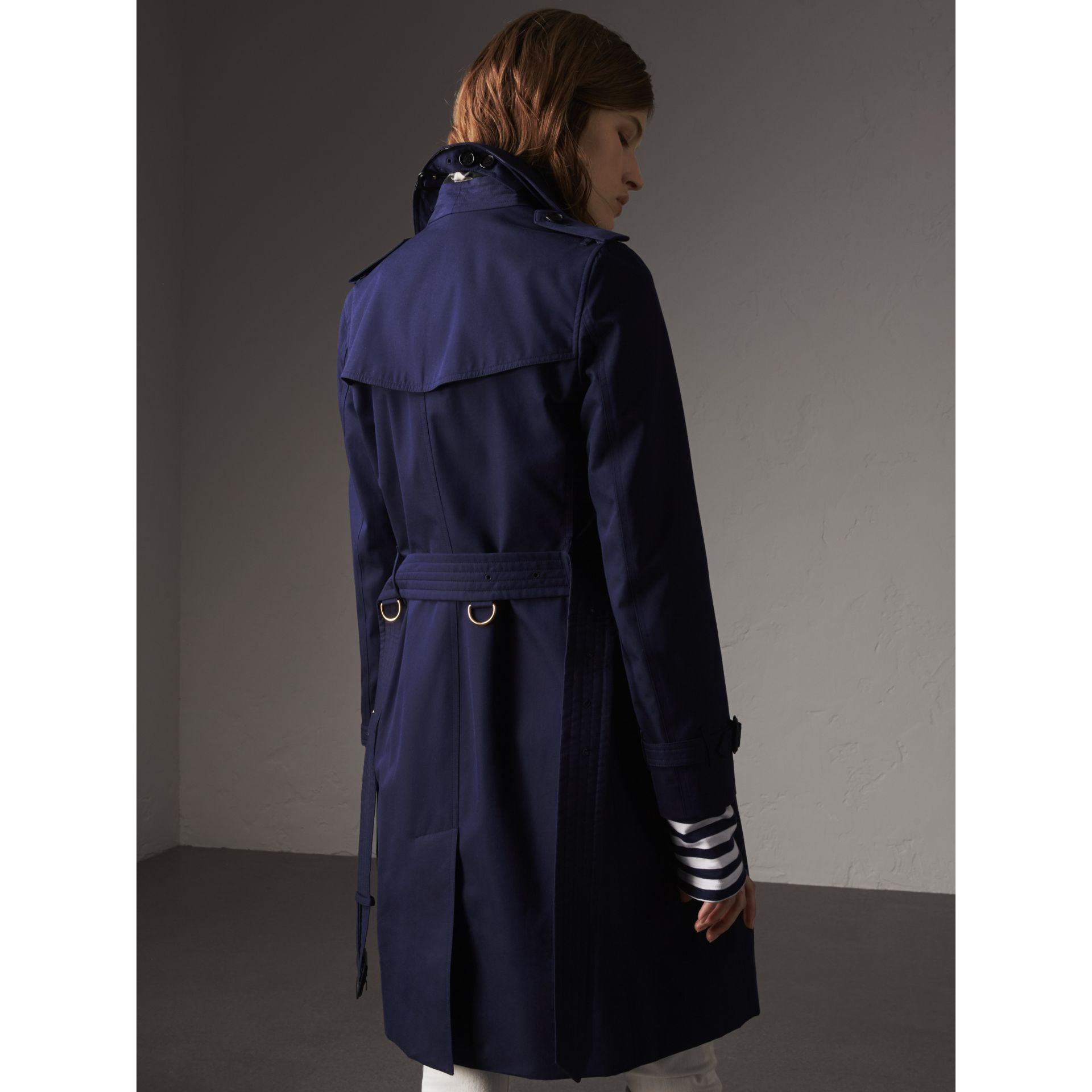Cotton Gabardine Trench Coat in Blueberry - Women | Burberry Canada - gallery image 3