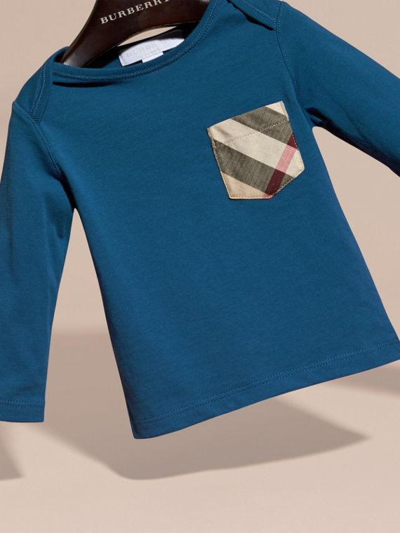 Mineral blue Check Pocket Long Sleeve T-Shirt Mineral Blue - cell image 2