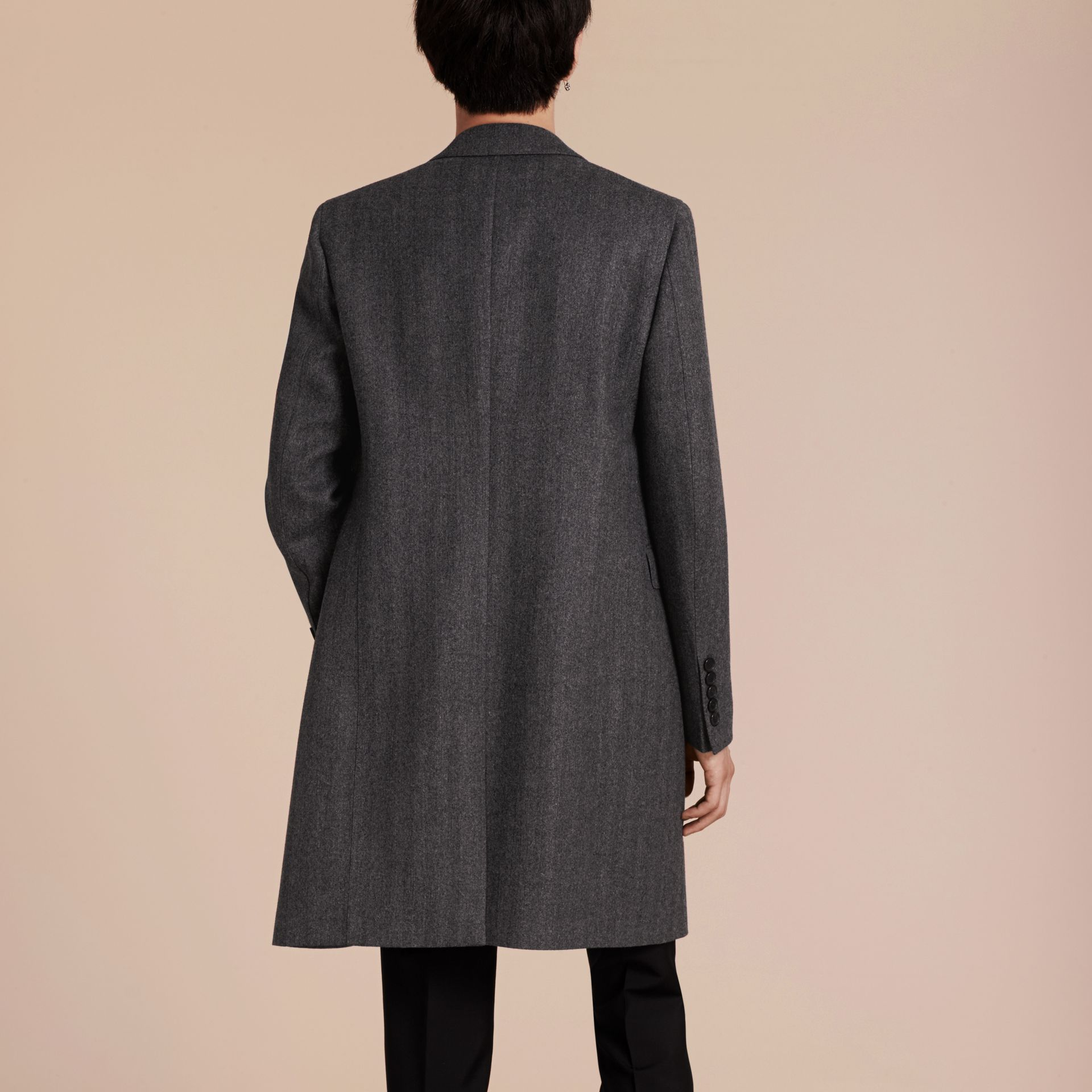 Mid grey Wool Herringbone Tailored Coat - gallery image 3