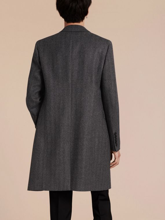 Mid grey Wool Herringbone Tailored Coat - cell image 2