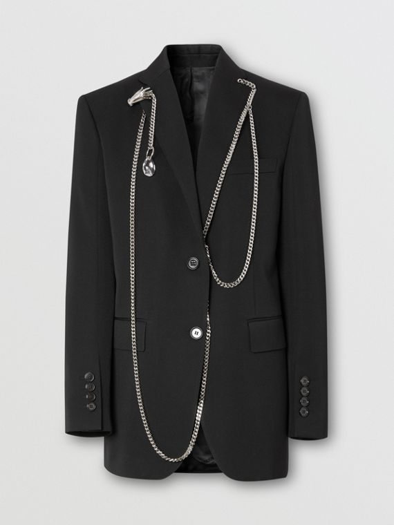 Chain Detail Wool Blazer in Black