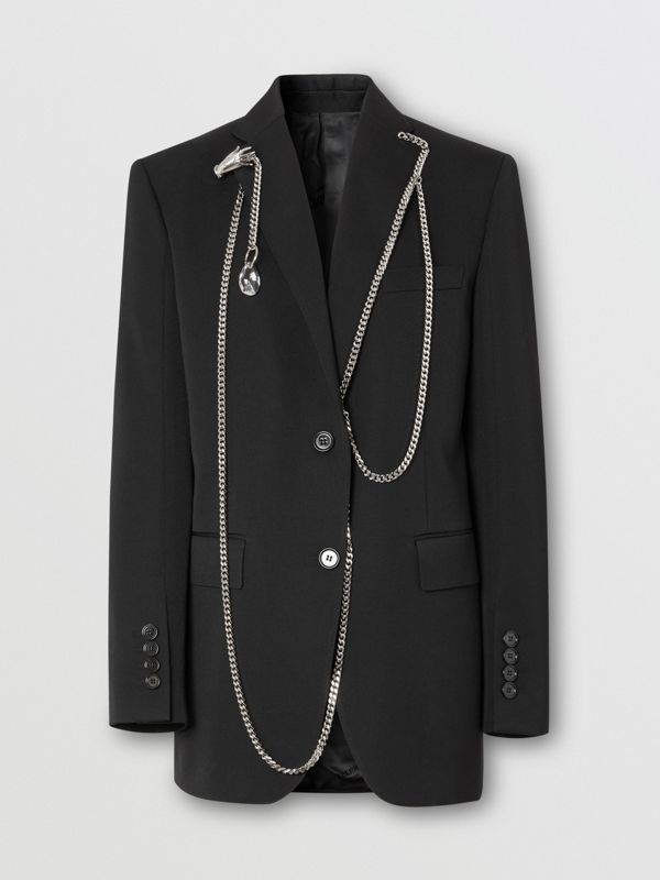 Chain Detail Wool Blazer in Black - Women | Burberry - cell image 3