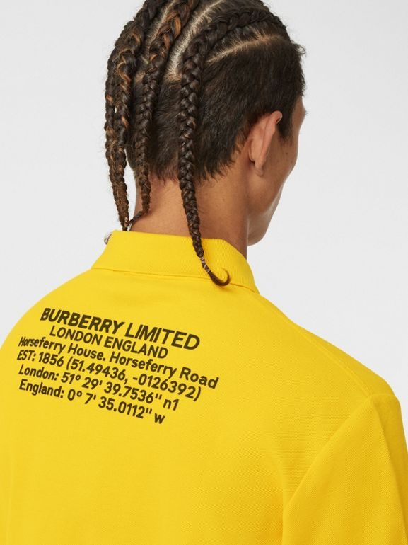 Location Print Cotton Piqué Oversized Polo Shirt in Canary Yellow - Men | Burberry - cell image 1