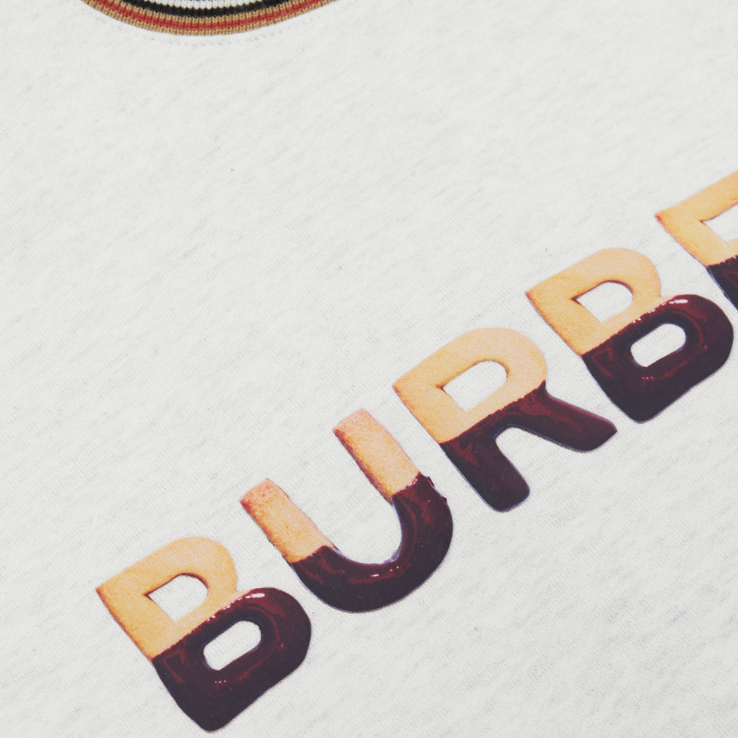 Confectionery Logo Print Cotton Sweatshirt in White Melange | Burberry - 2
