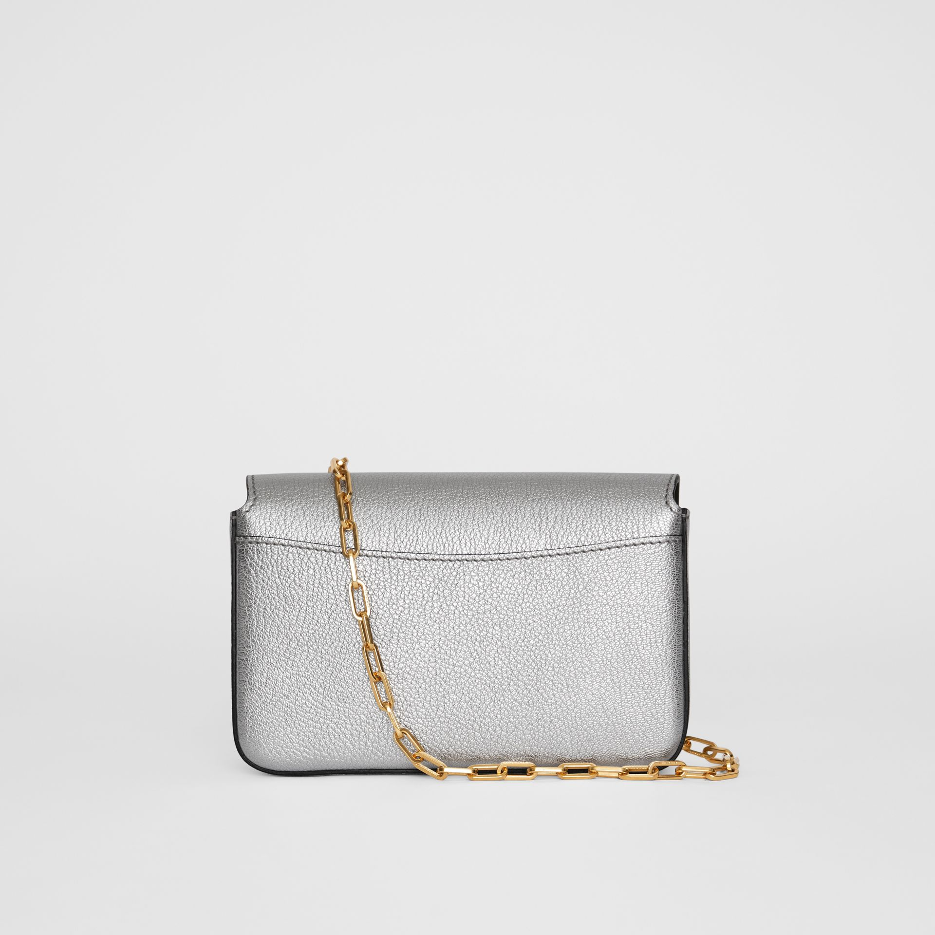 The Mini Leather D-ring Bag in Silver - Women | Burberry Canada - gallery image 7