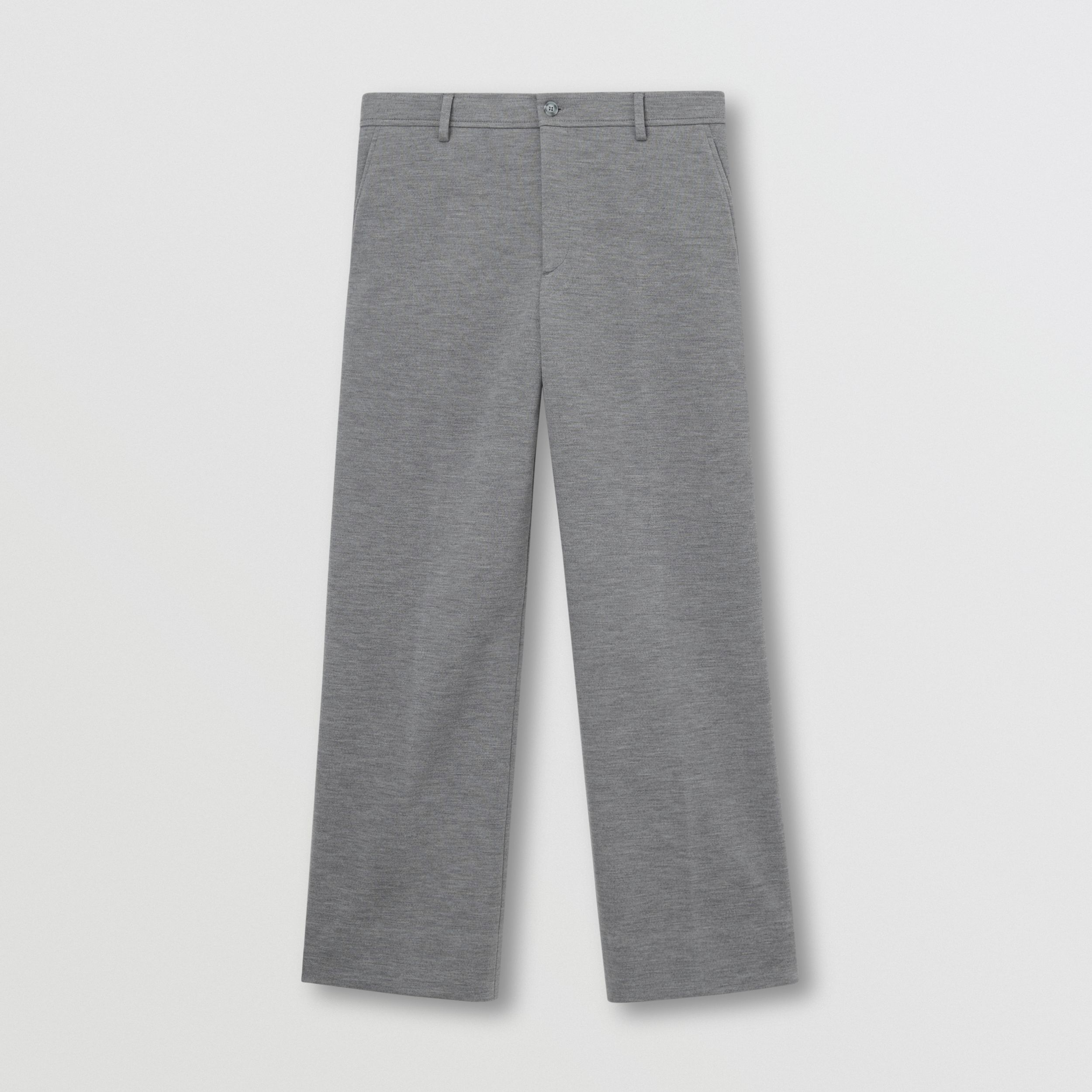 Wool Jersey Wide-leg Tailored Trousers in Cloud Grey - Men | Burberry - 1