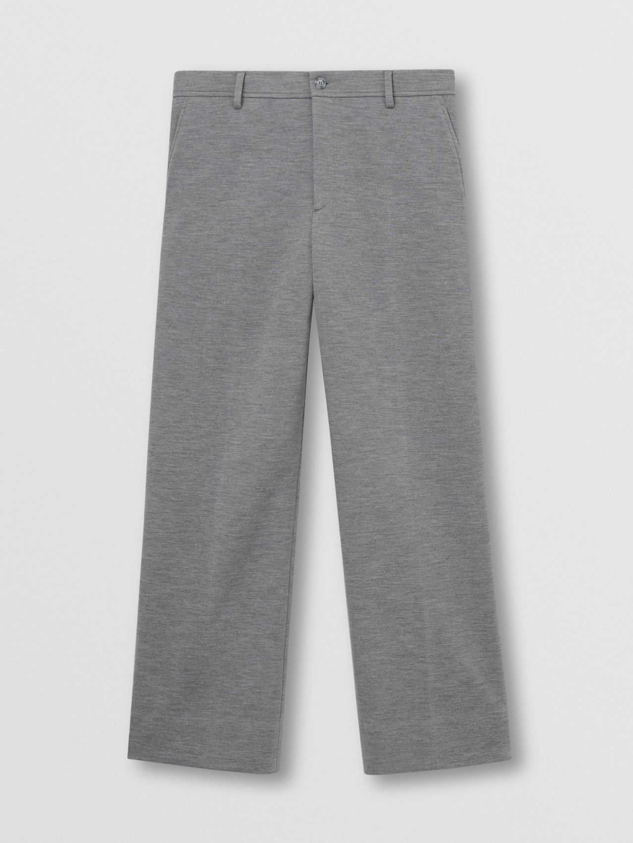 Wool Jersey Wide-leg Tailored Trousers in Cloud Grey
