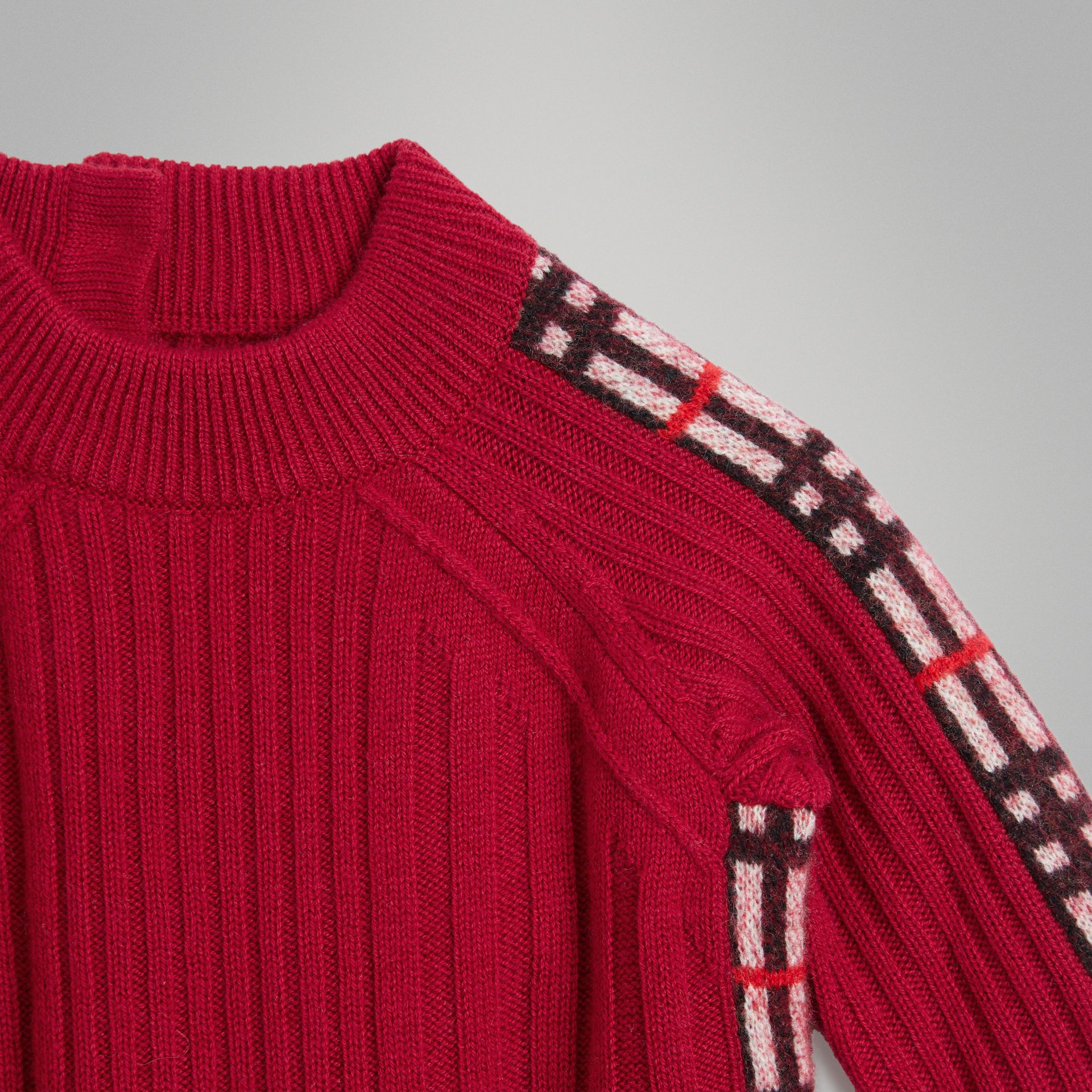Check Detail Wool Cashmere Dress in Burgundy Red - Children | Burberry Canada - gallery image 4