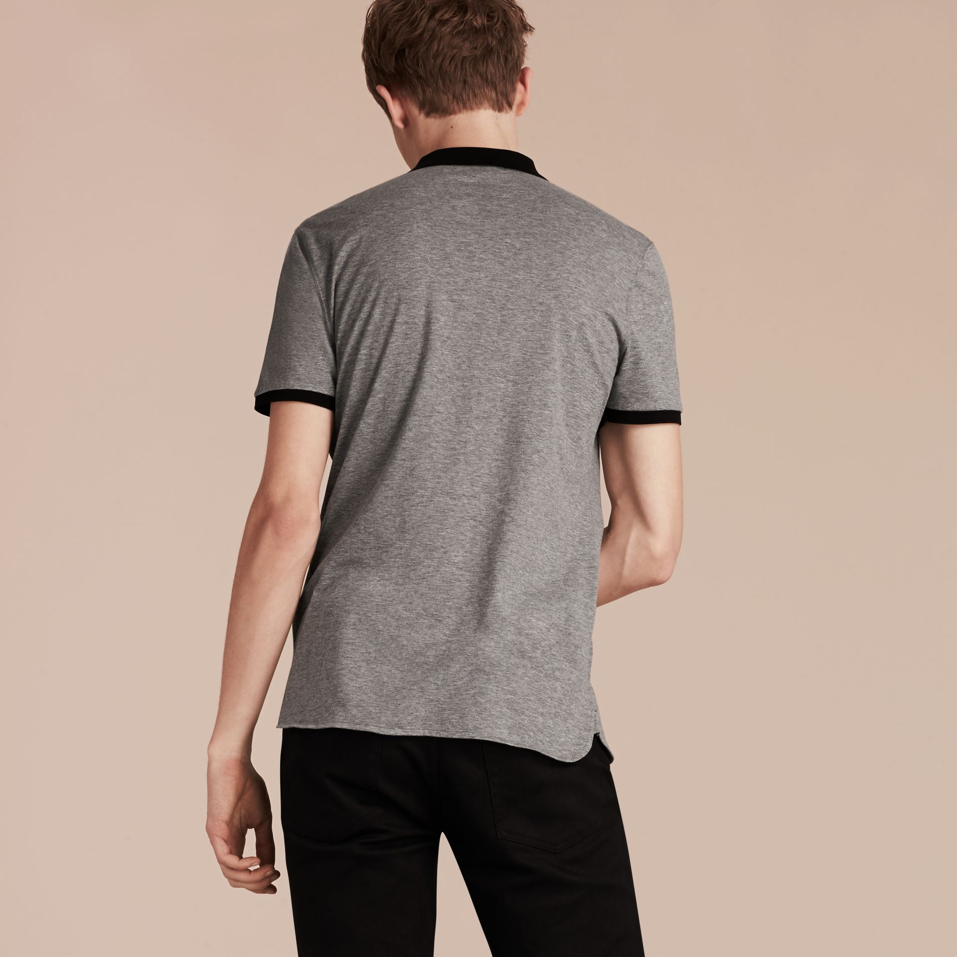 Mid grey melange Fitted Cotton Polo Shirt with Tonal Trim Mid Grey Melange - gallery image 3