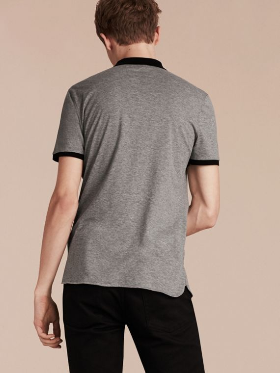 Mid grey melange Fitted Cotton Polo Shirt with Tonal Trim Mid Grey Melange - cell image 2