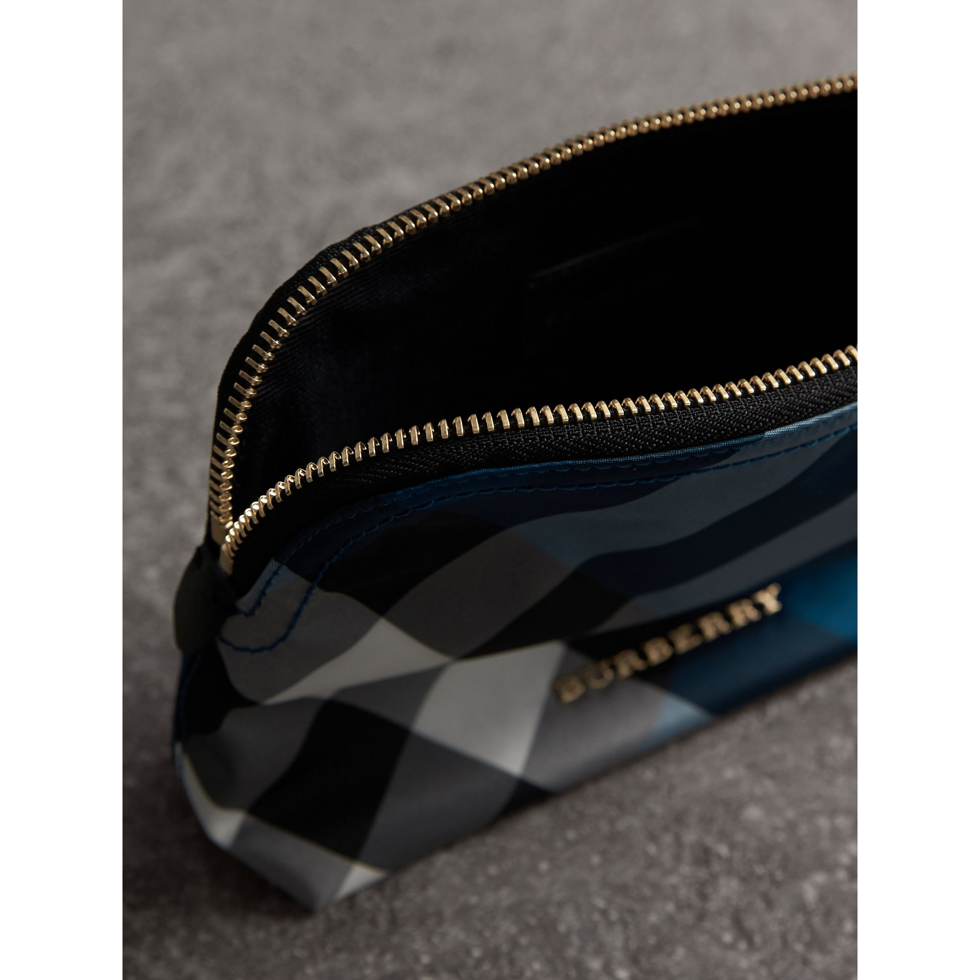 Medium Zip-top Check Technical Pouch in Marine Blue - Women | Burberry - gallery image 5