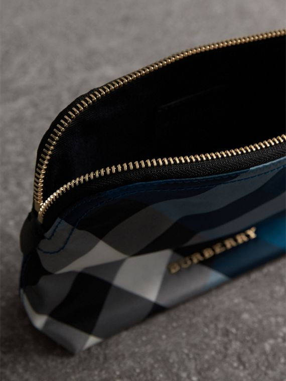 Medium Zip-top Check Technical Pouch in Marine Blue - Women | Burberry - cell image 3