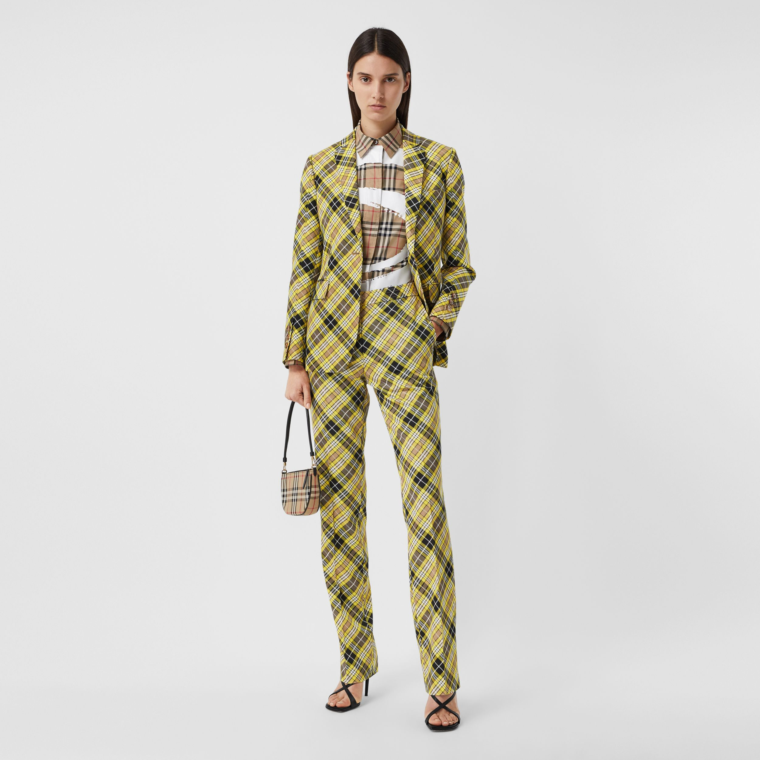 Cropped Check Technical Wool Tailored Trousers in Marigold Yellow - Women | Burberry - 1