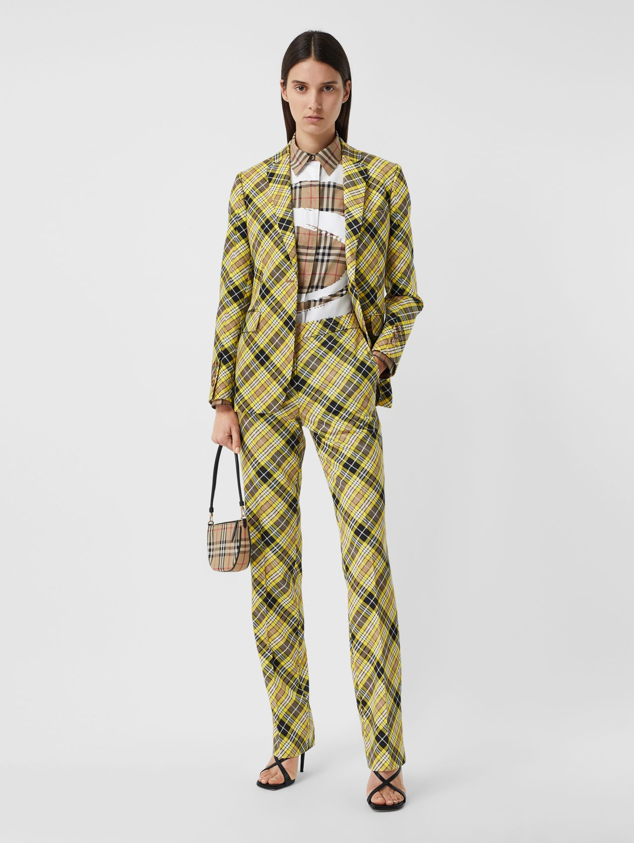 Cropped Check Technical Wool Tailored Trousers in Marigold Yellow