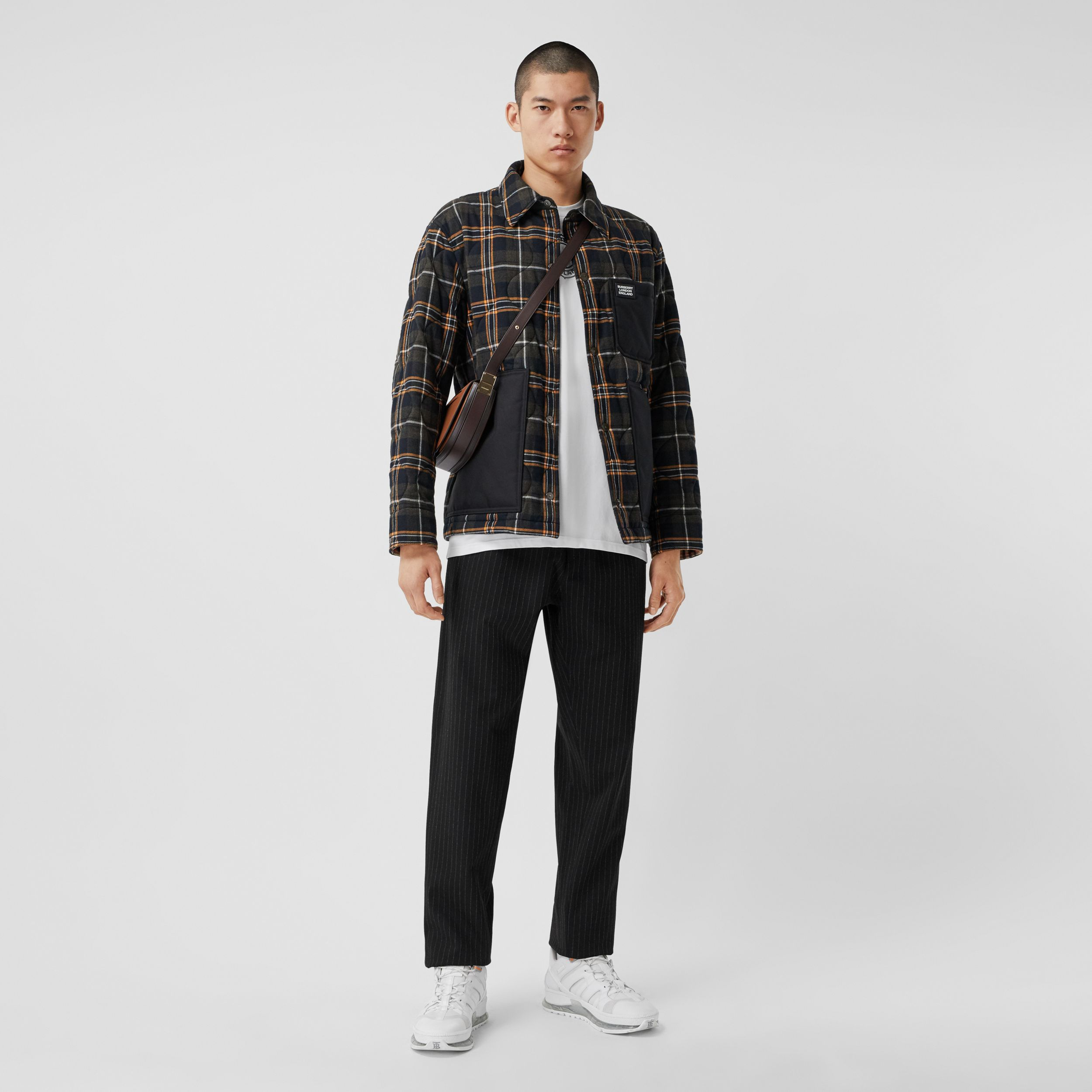 Pinstriped Stretch Jersey Jogging Pants in Black - Men | Burberry - 1