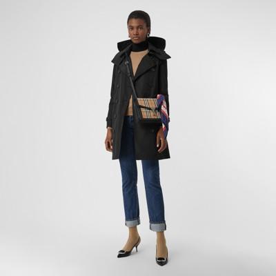 Detachable Hood Taffeta Trench Coat in Black Women | Burberry