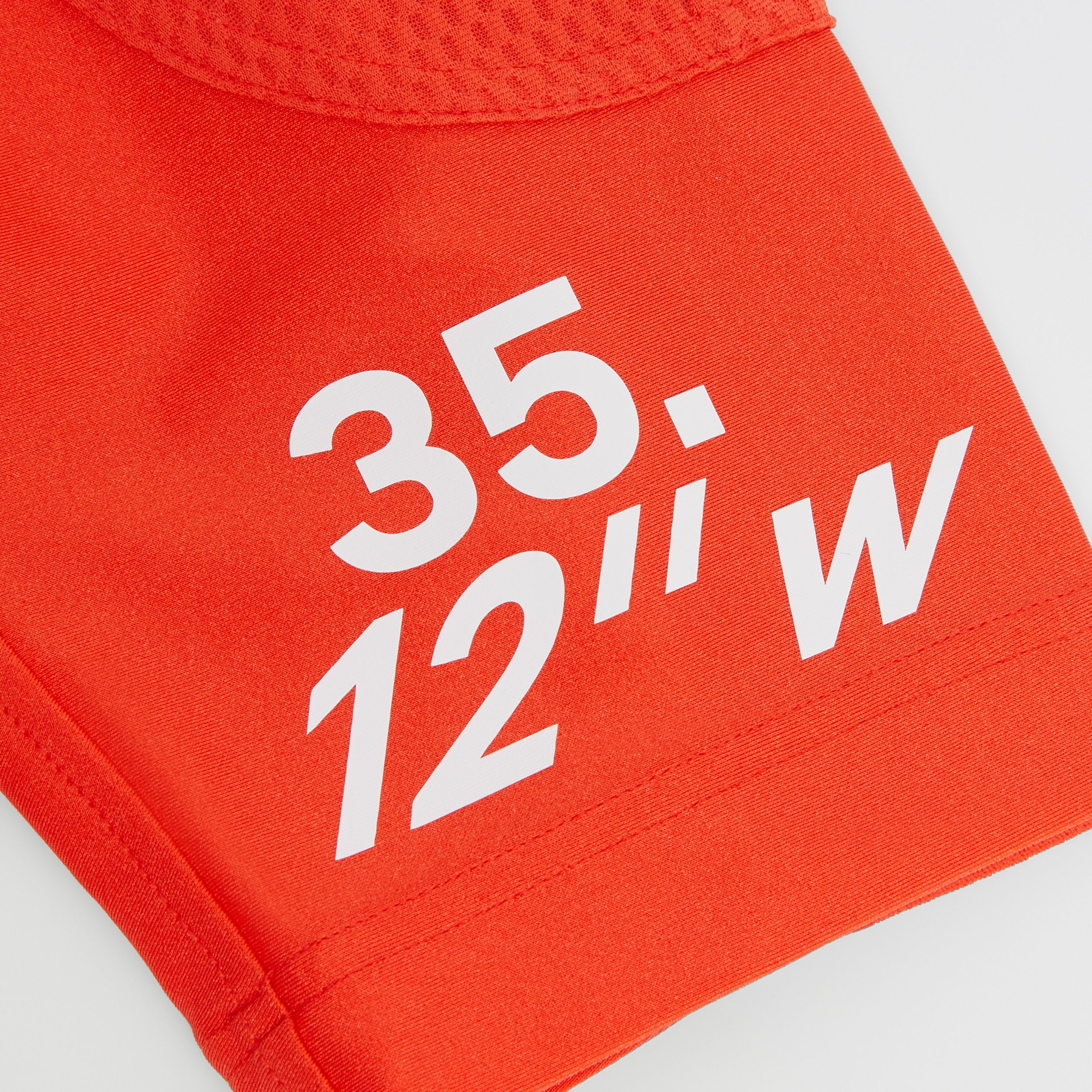 Coordinates Print Stretch Jersey Cycling Shorts in Orange Red | Burberry United States - 2