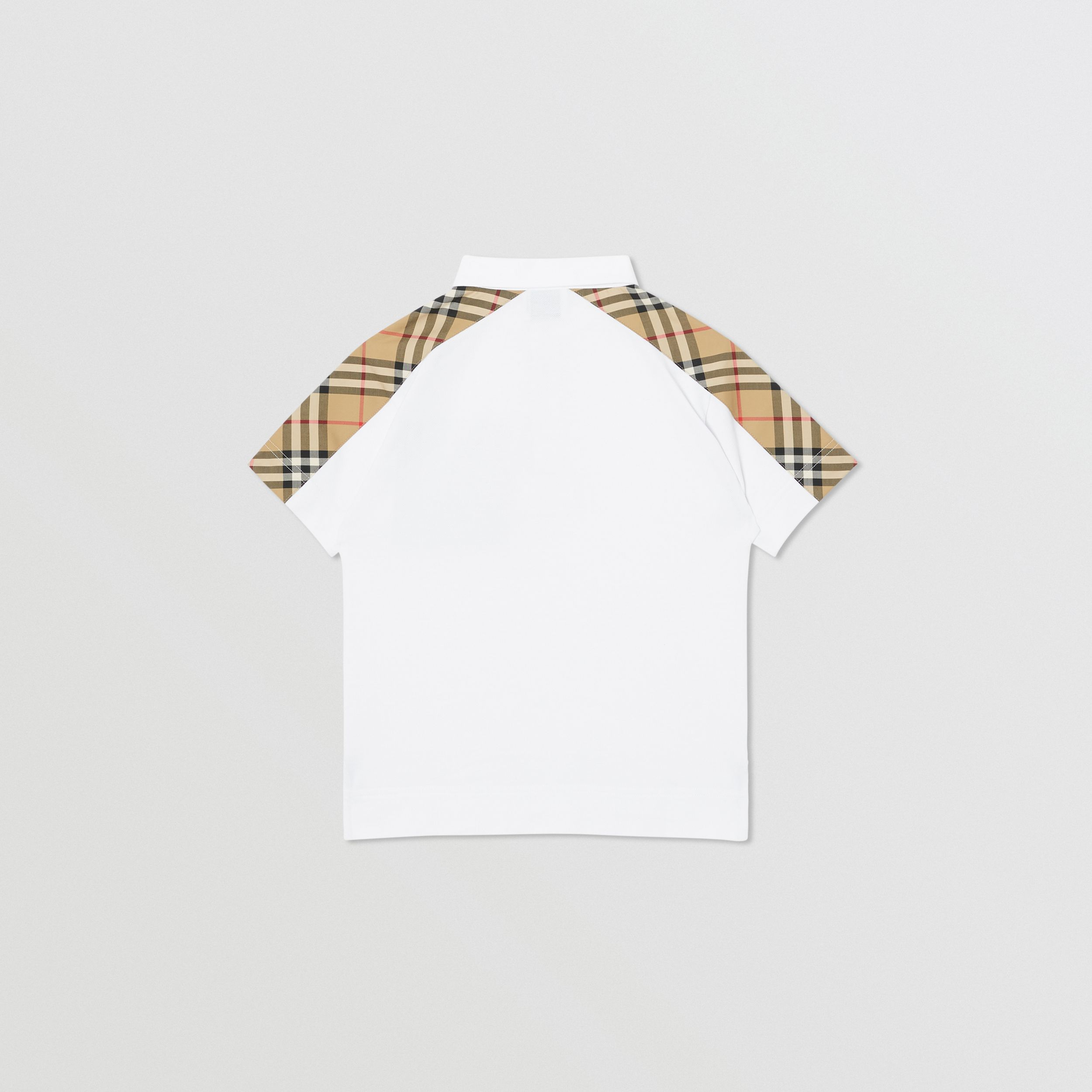 Vintage Check Panel Cotton Piqué Polo Shirt in White | Burberry - 4