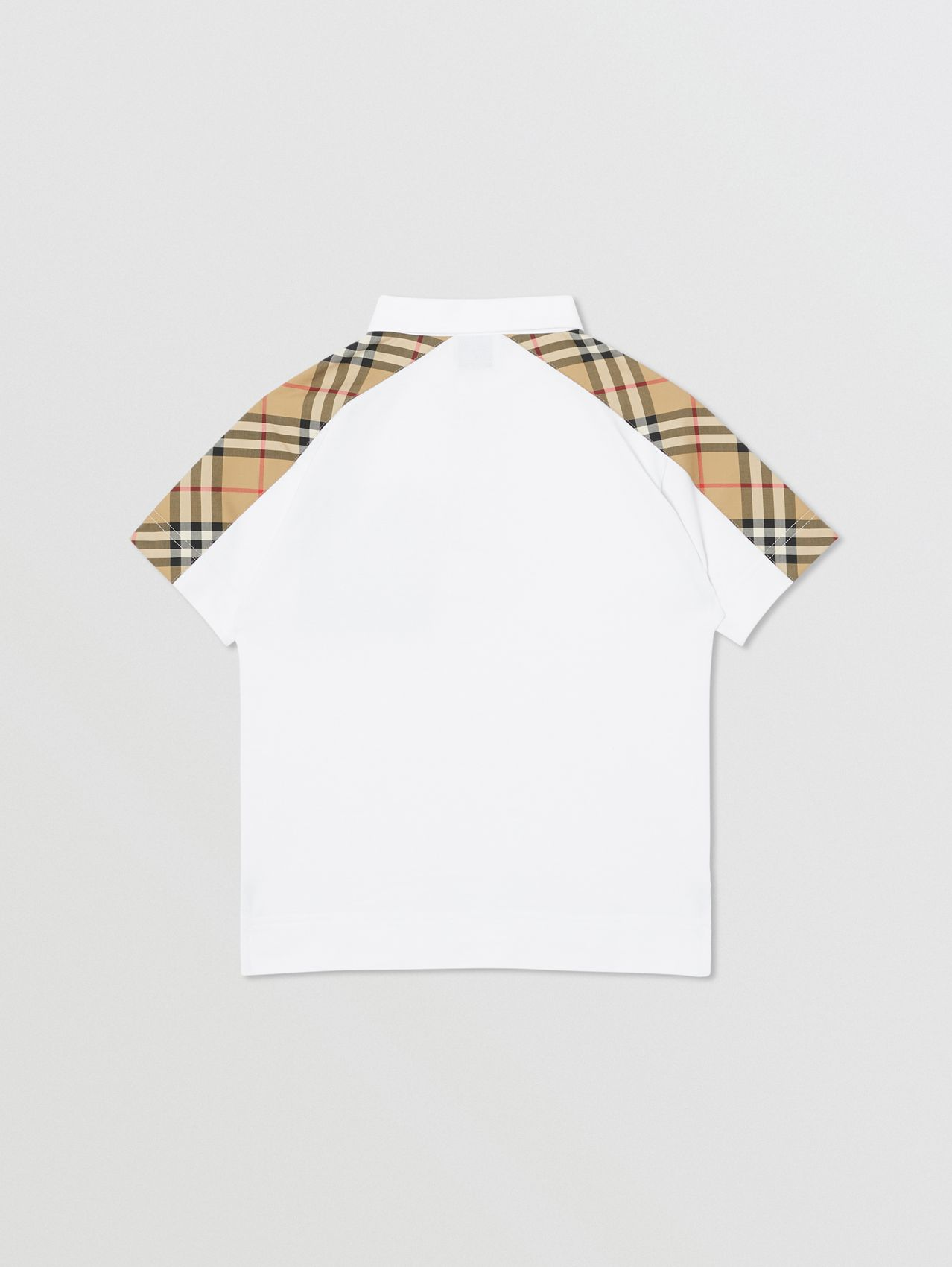 Vintage Check Panel Cotton Piqué Polo Shirt in White