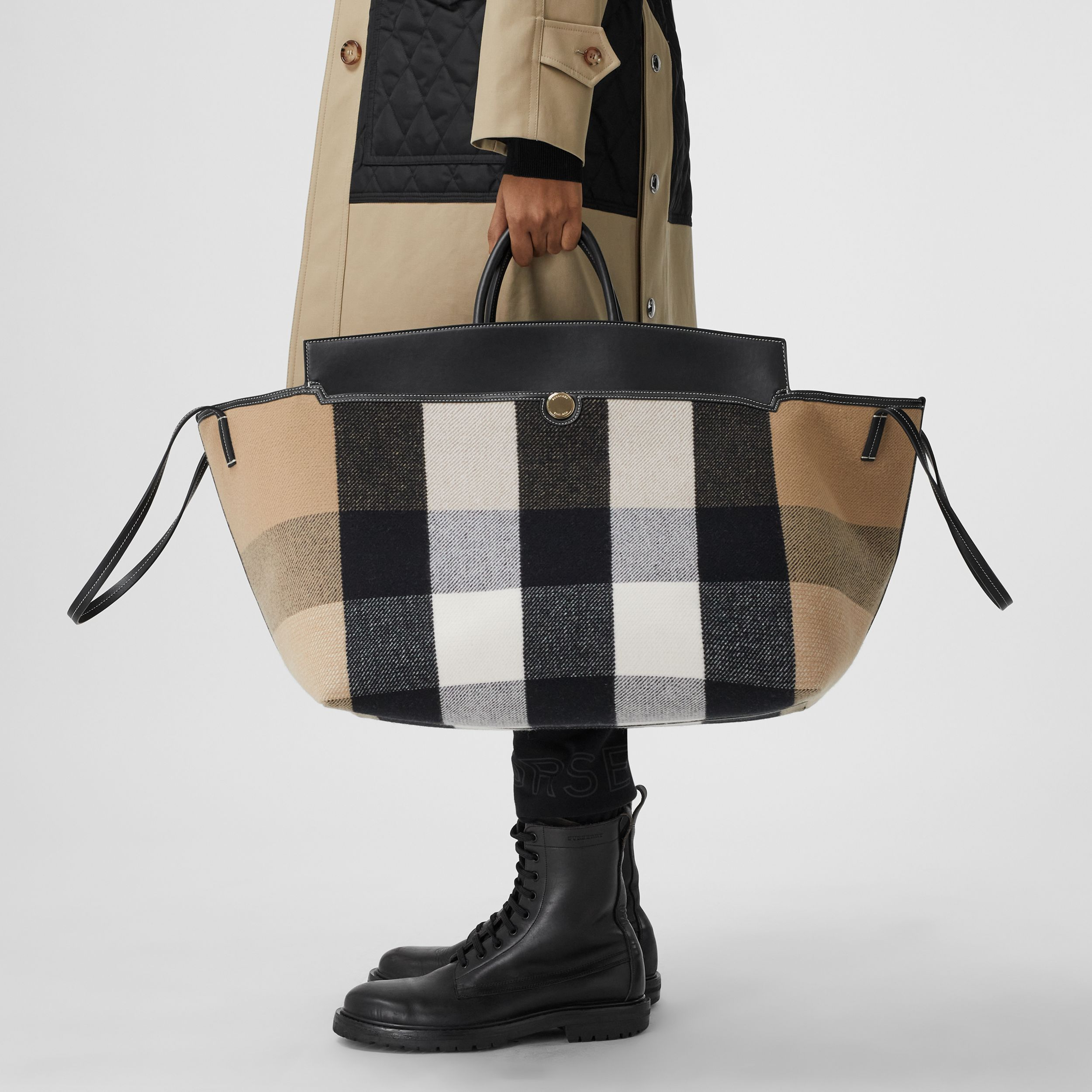 Check Merino Wool Cashmere Society Holdall in Archive Beige | Burberry United Kingdom - 3