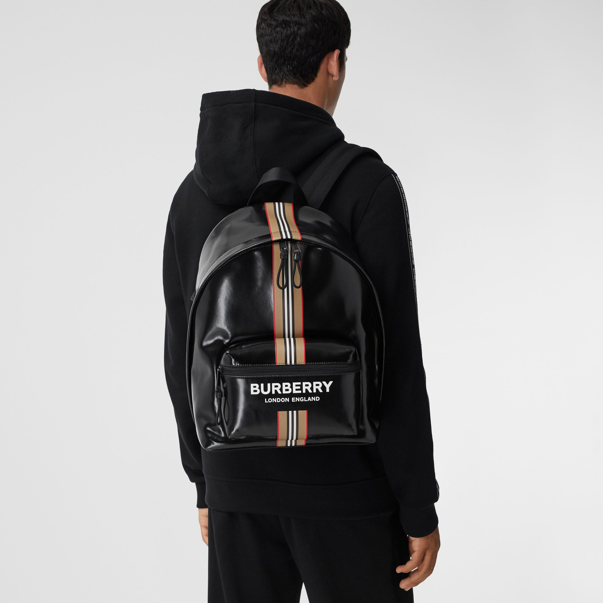 Logo and Icon Stripe Print Backpack in Black - Men | Burberry - 3