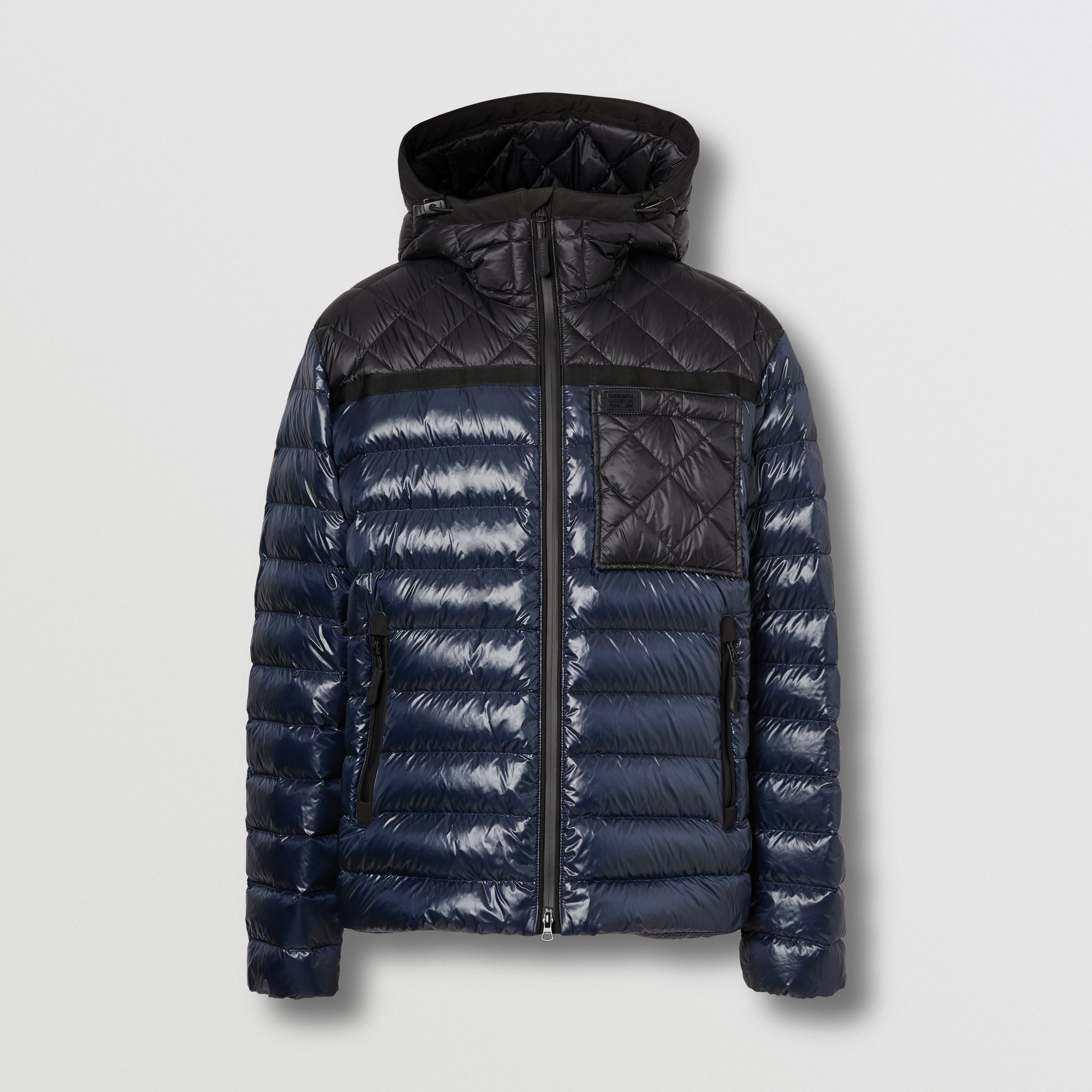 Diamond Quilted Panel Hooded Puffer Jacket in Midnight - Men | Burberry - 4