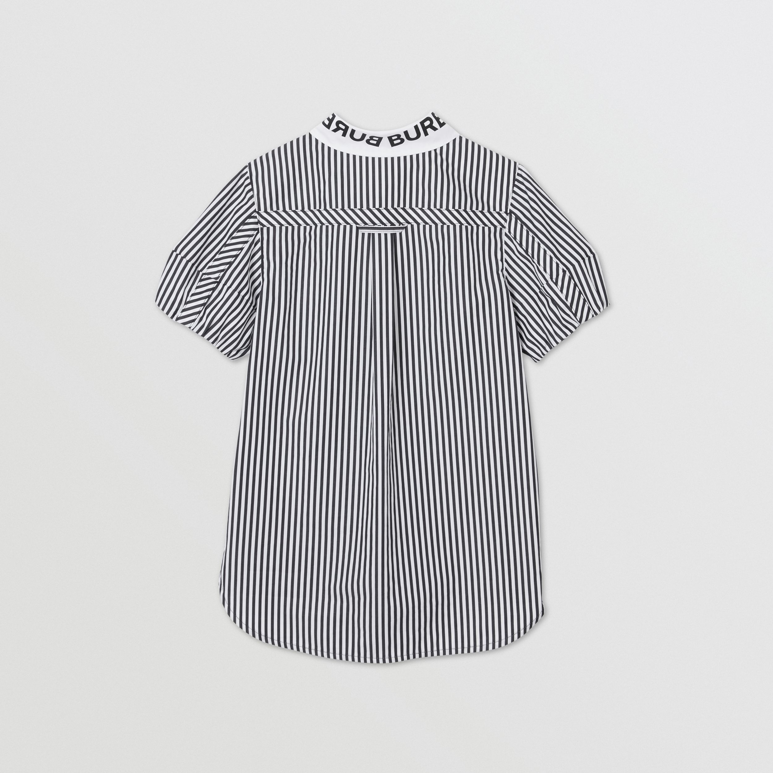 Logo Print Striped and Gingham Cotton Shirt Dress in Black | Burberry Singapore - 4
