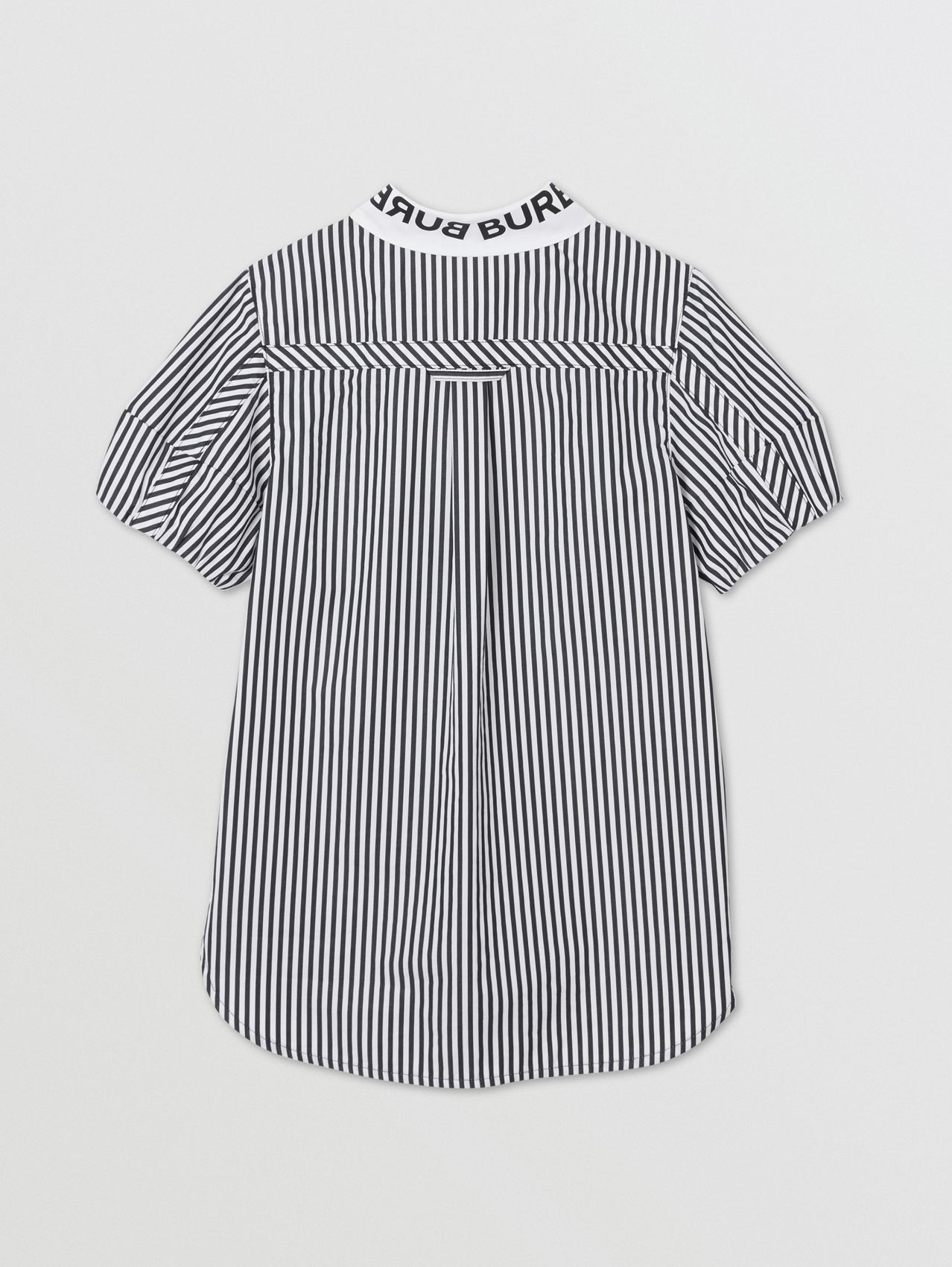 Logo Print Striped and Gingham Cotton Shirt Dress in Black