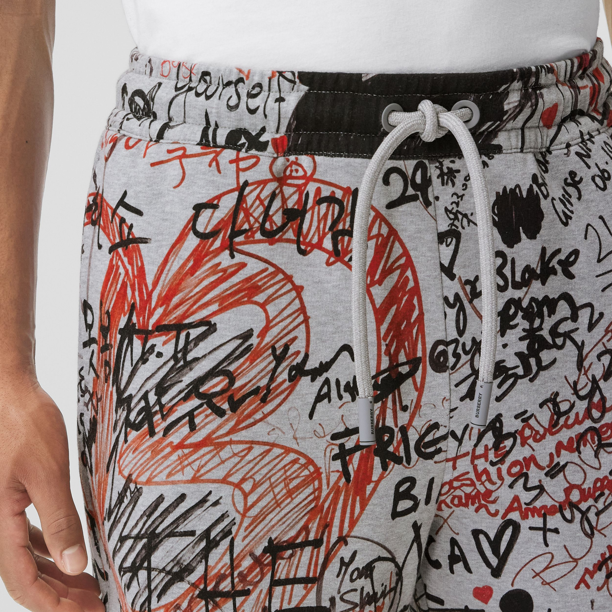 Graffiti Print Cotton Drawcord Shorts in Pale Grey Melange - Men | Burberry - 2