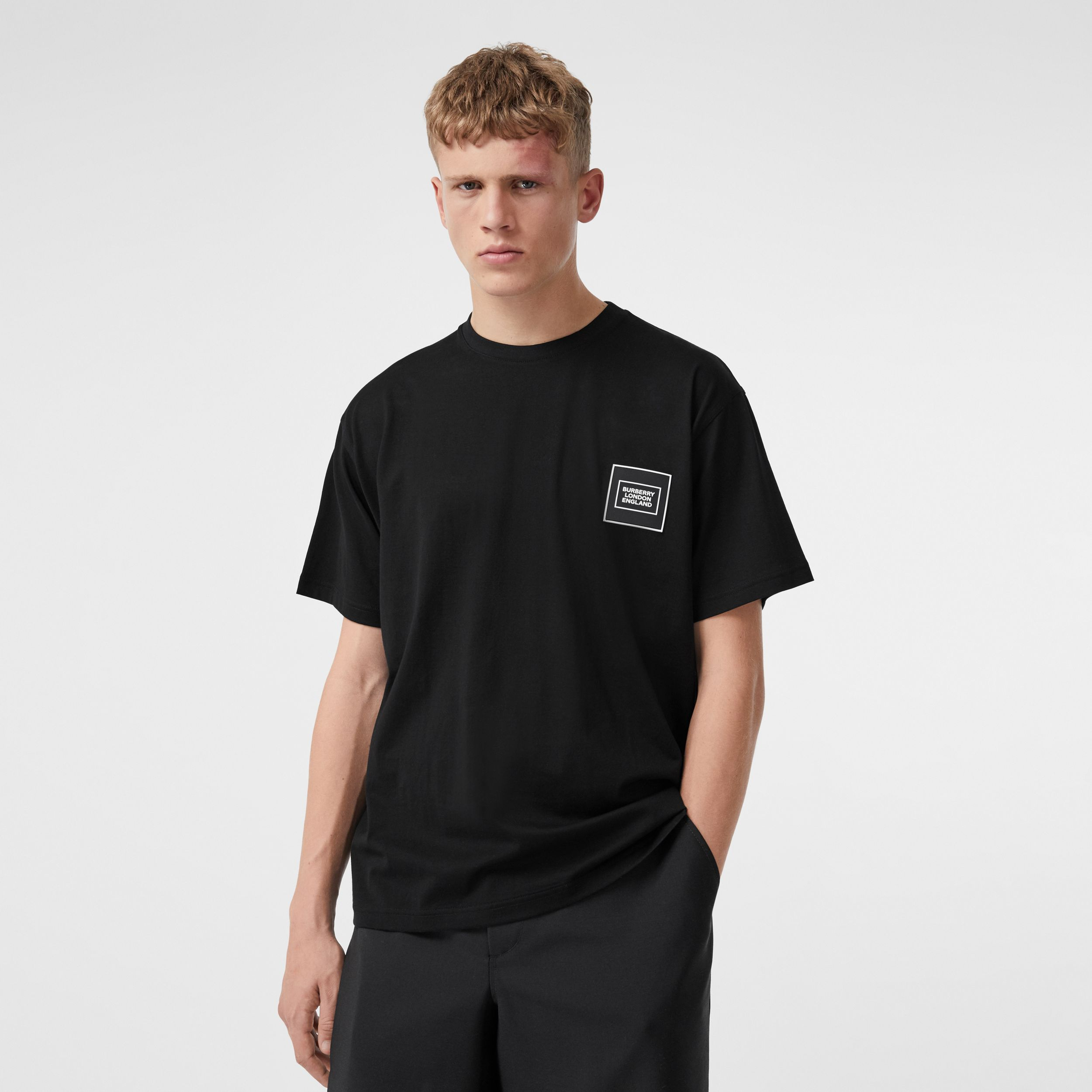 Logo Appliqué Cotton T-shirt in Black - Men | Burberry - 1