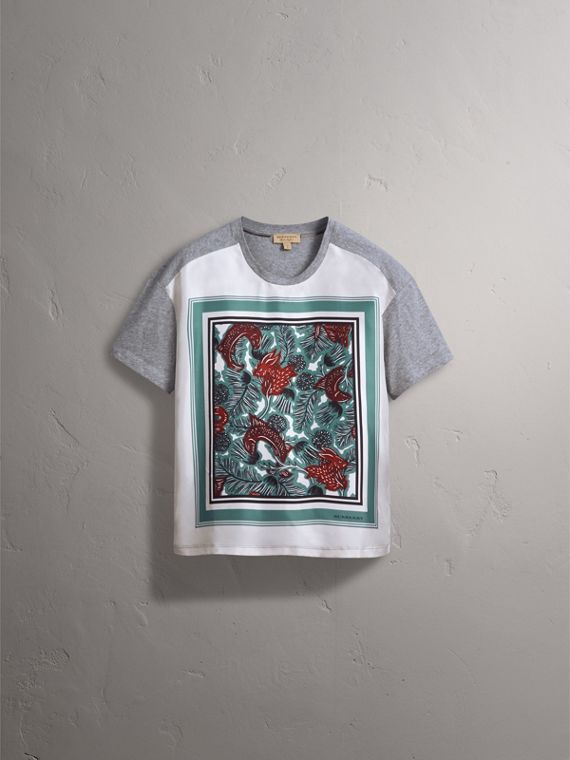 Beasts Print Silk Panel Cotton T-shirt in Pale Grey Melange - Women | Burberry - cell image 3