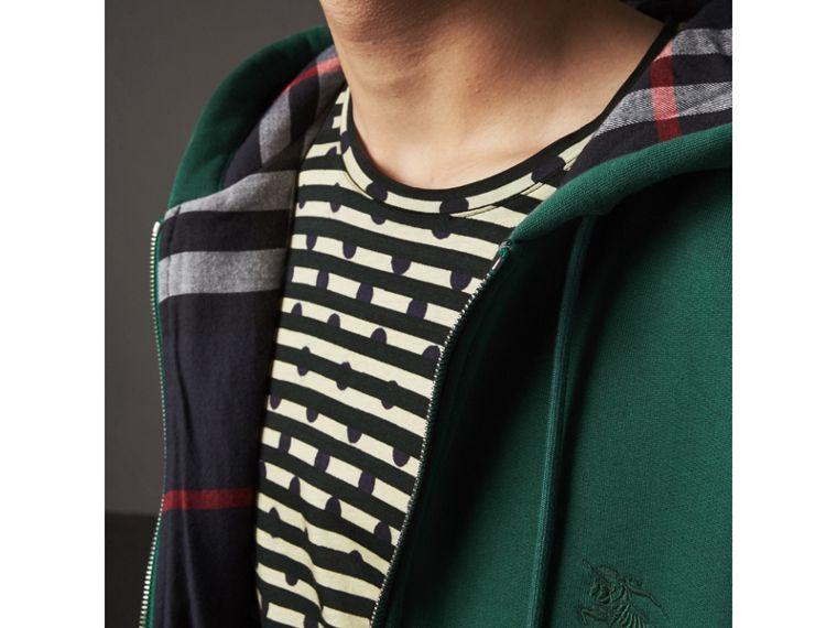 Check Detail Jersey Hooded Top in Dark Forest Green - Men | Burberry - cell image 1