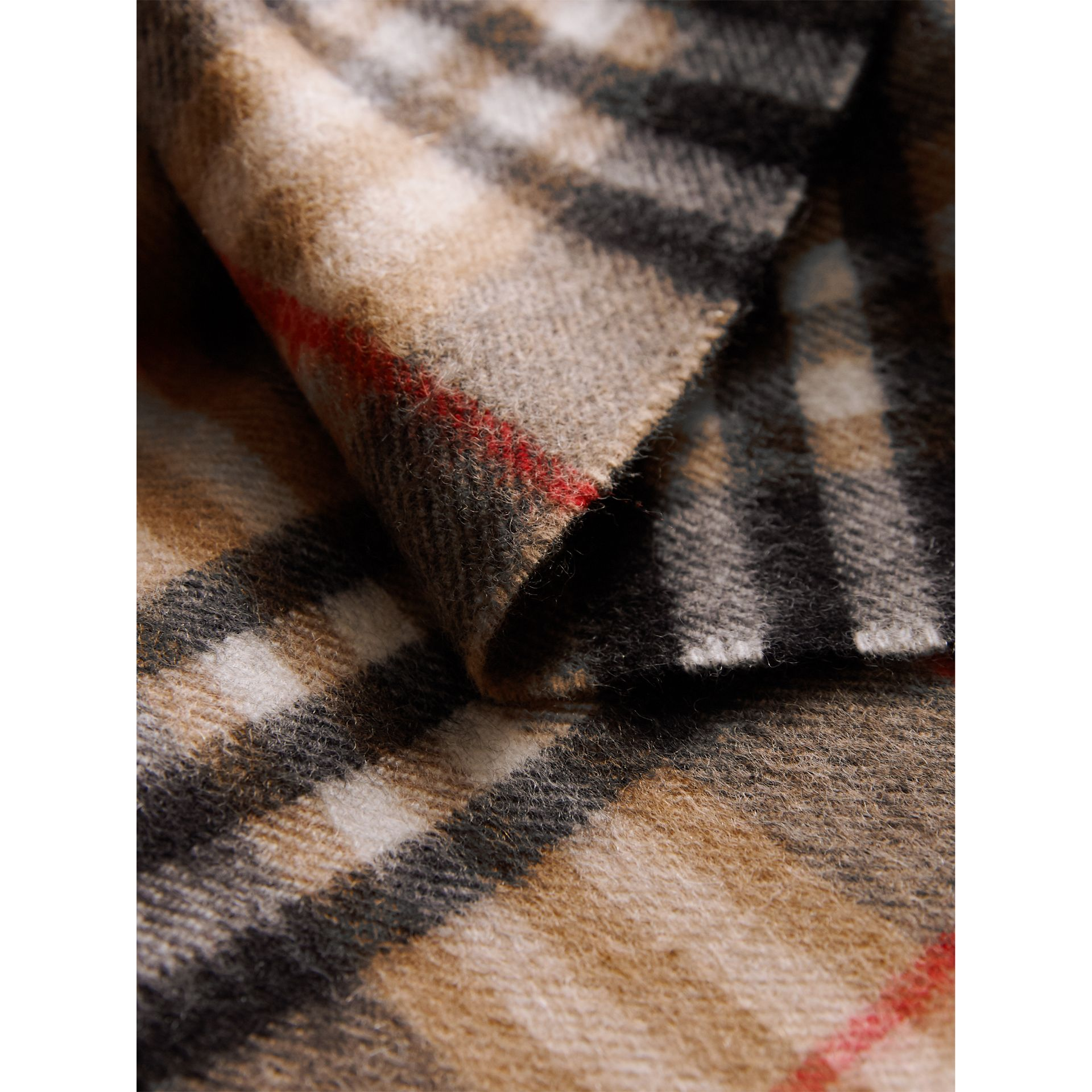 Check Cashmere Scarf in Camel | Burberry - gallery image 4