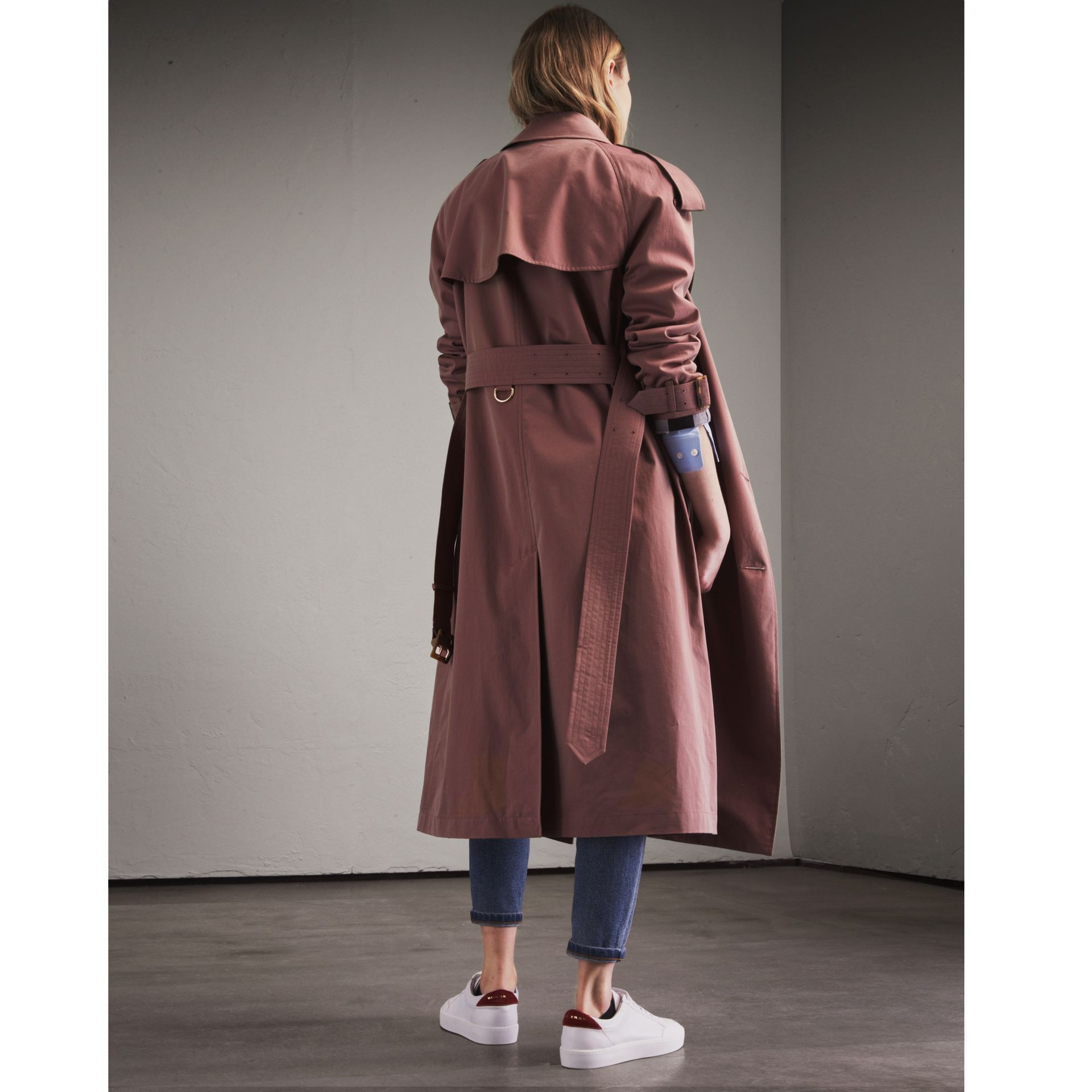 Tropical Gabardine Trench Coat in Antique Rose - Women | Burberry Canada - gallery image 3