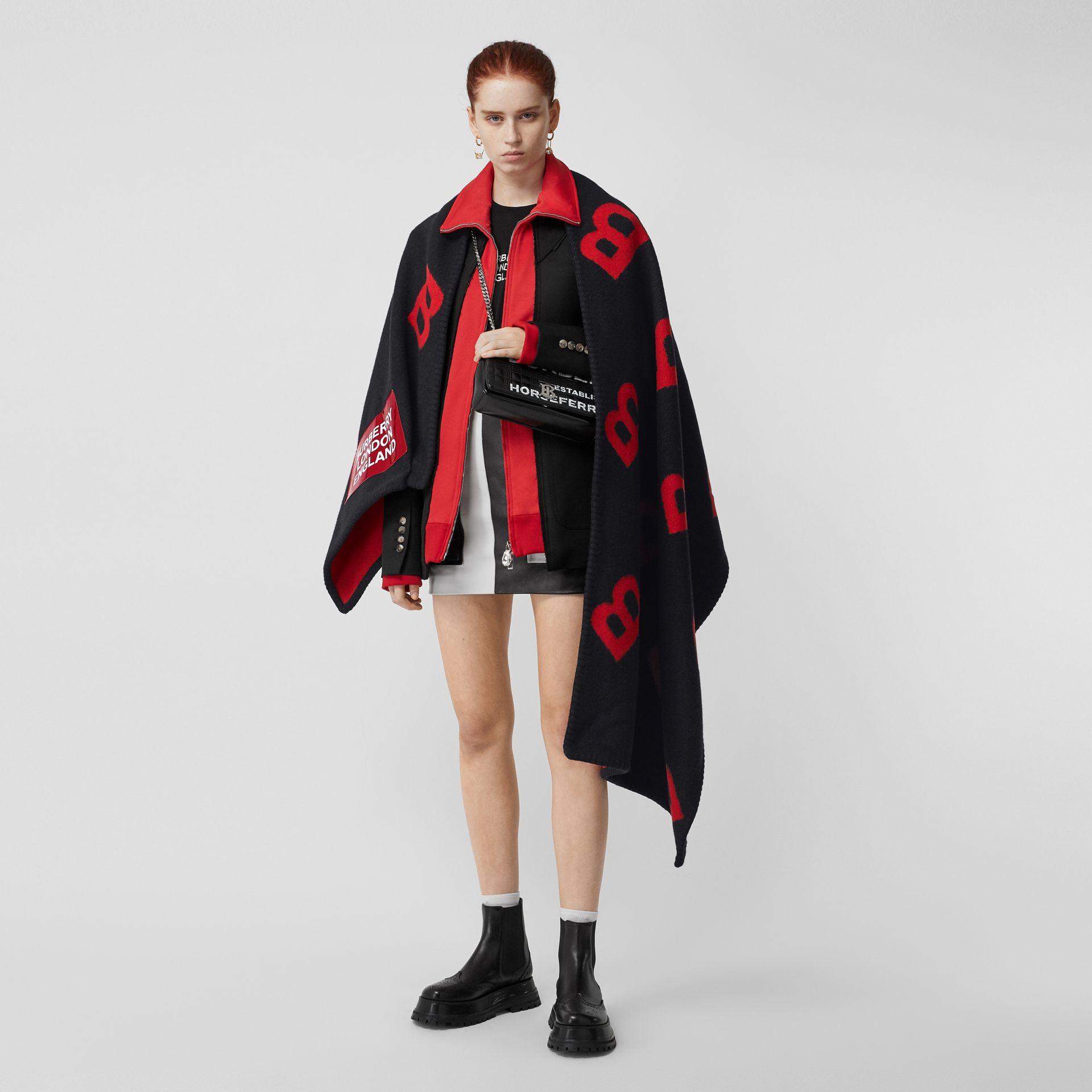 Reversible B Motif Wool Cashmere Blanket Cape in Black/bright Red | Burberry - gallery image 0