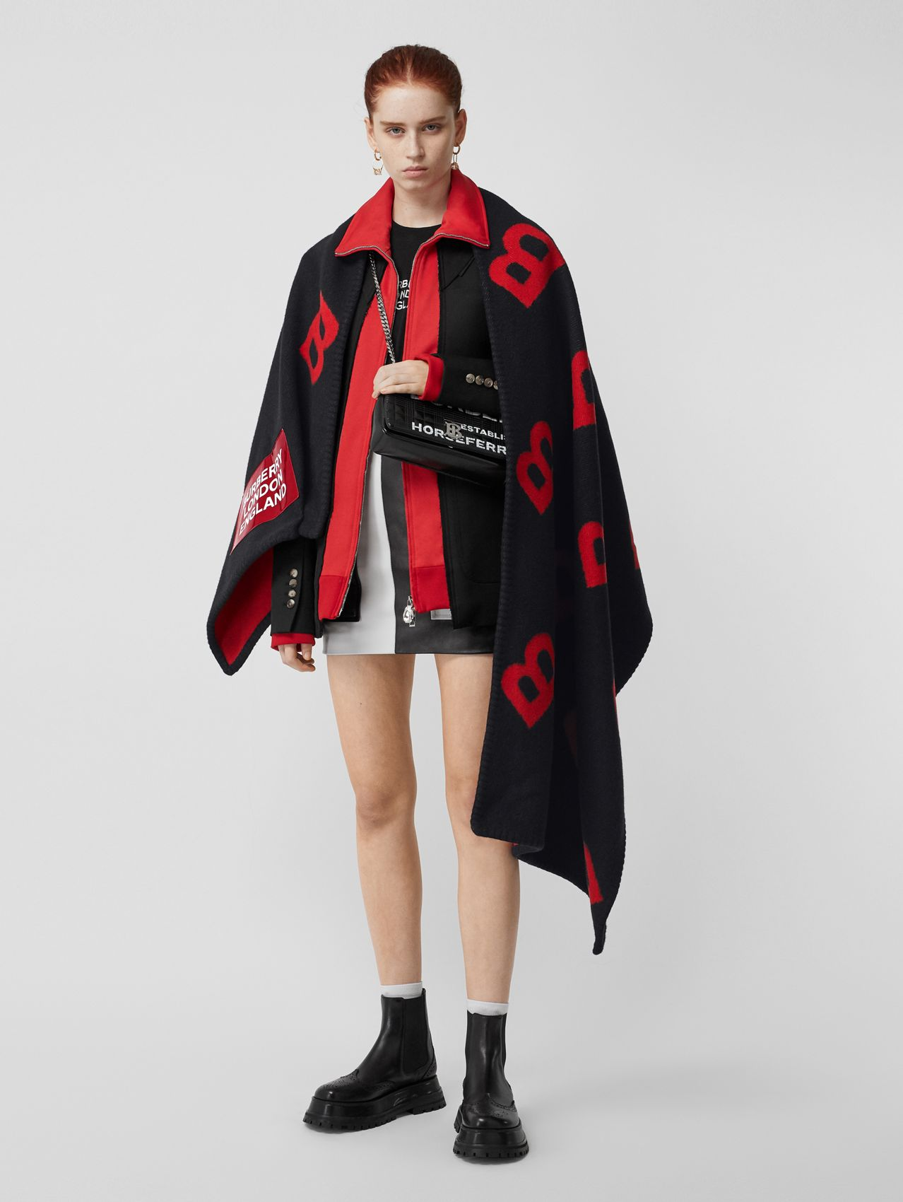 Reversible B Motif Wool Cashmere Blanket Cape in Black/bright Red