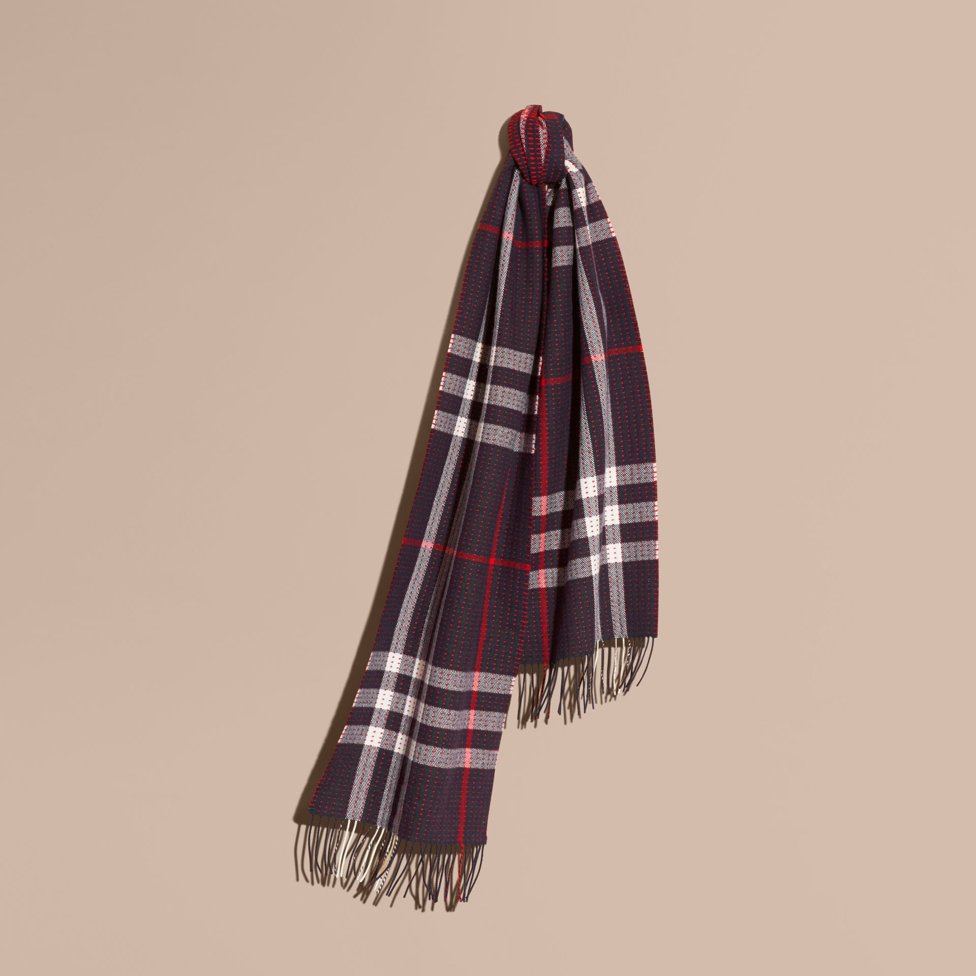 Navy check The Classic Cashmere Scarf in Check with Topstitch Detail Navy - gallery image 6