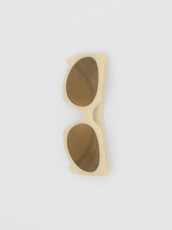 Geometric Frame Sunglasses in Light Horn - Women | Burberry - cell image 3