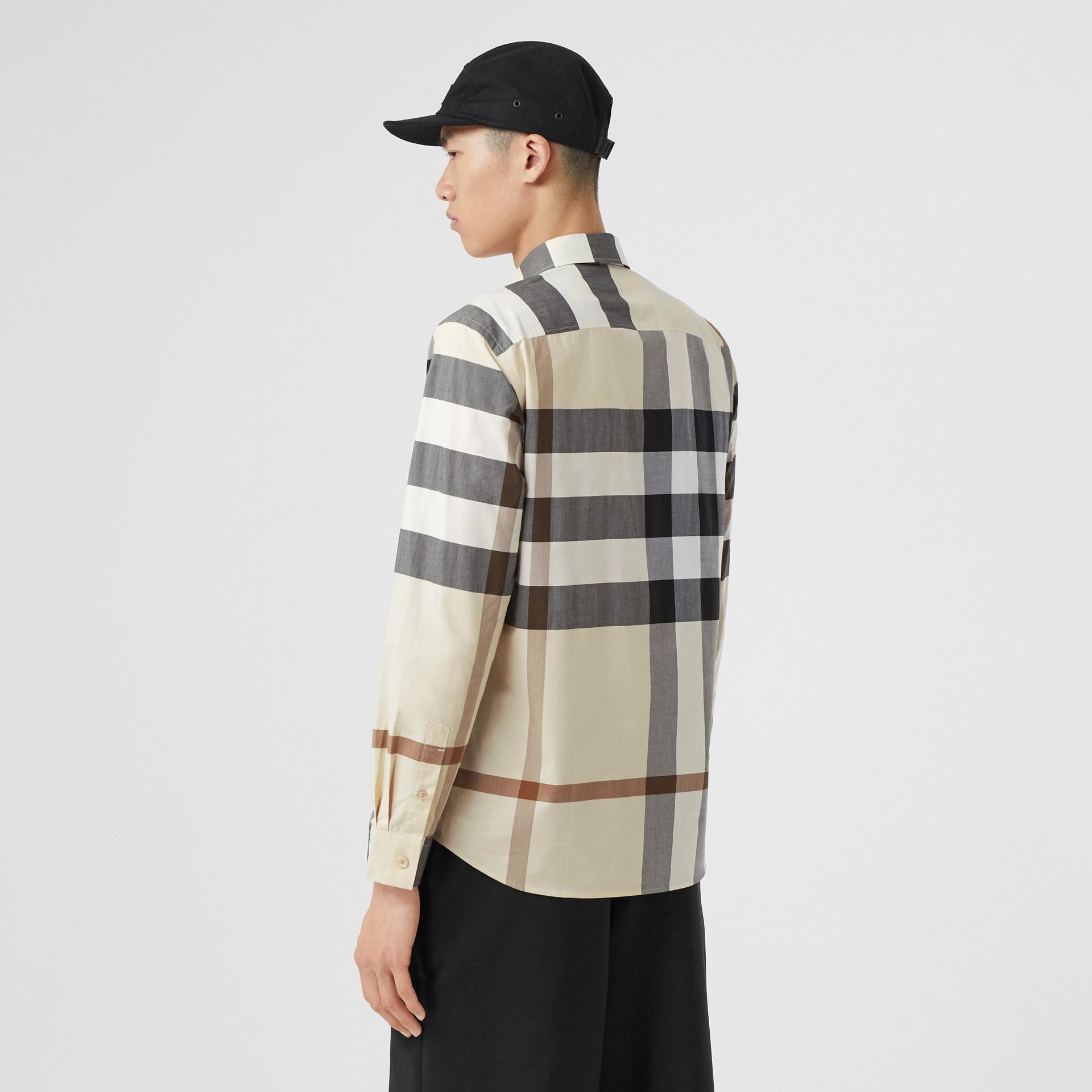 Check Stretch Cotton Poplin Shirt in Modern Beige - Men | Burberry United Kingdom - gallery image 2