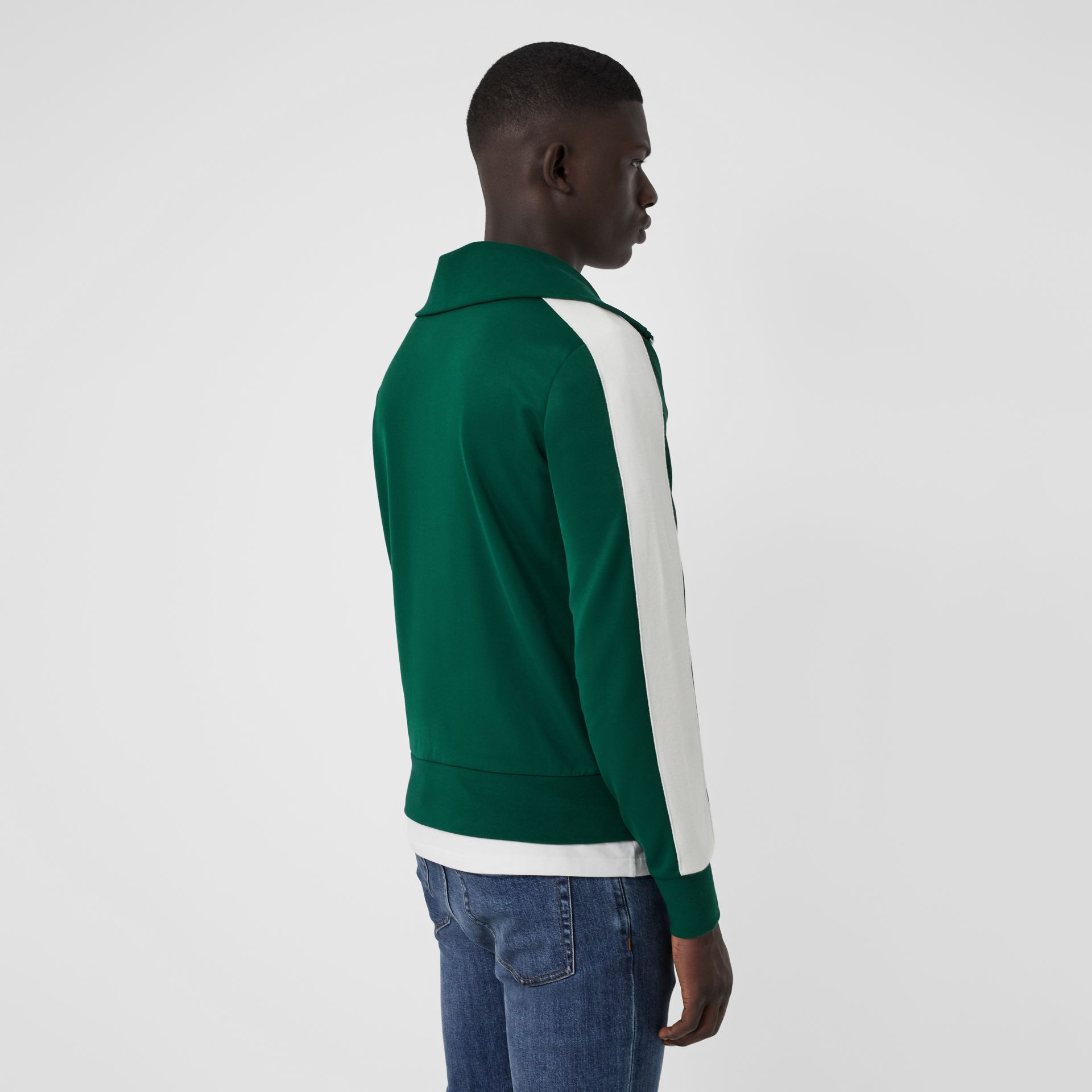 Stripe Detail Jersey Track Top in Opal Green - Men | Burberry - gallery image 2