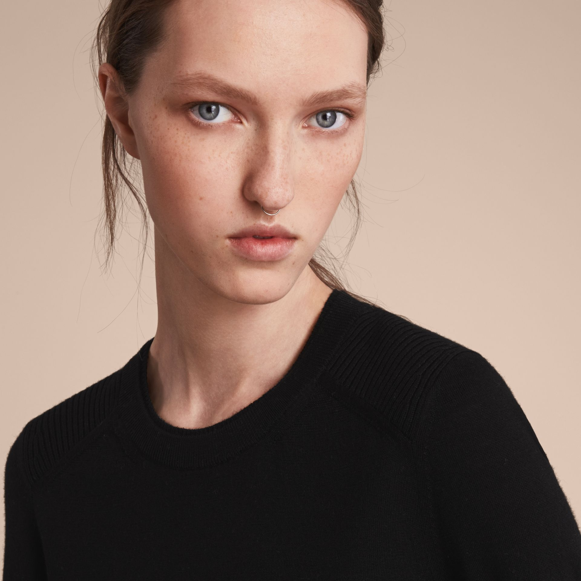 Check Detail Merino Wool Sweater in Black - Women | Burberry - gallery image 6
